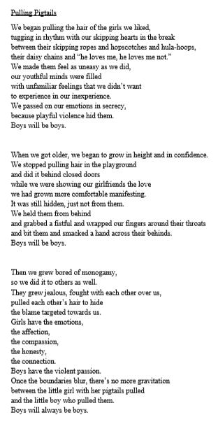 Poem entitled 'Pulling pigtails'#.