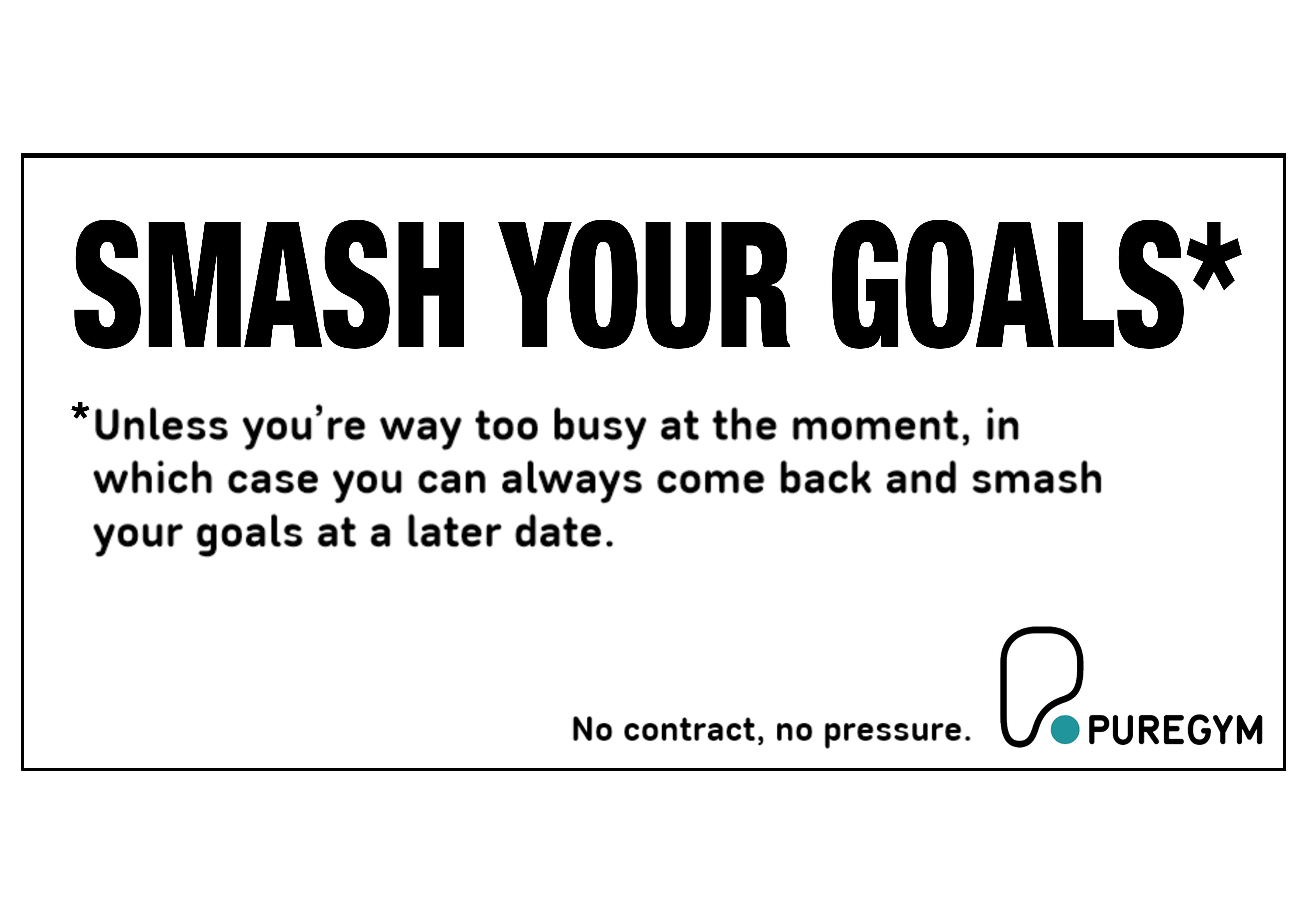 PureGym Billboard ad that reads: Smash your goals