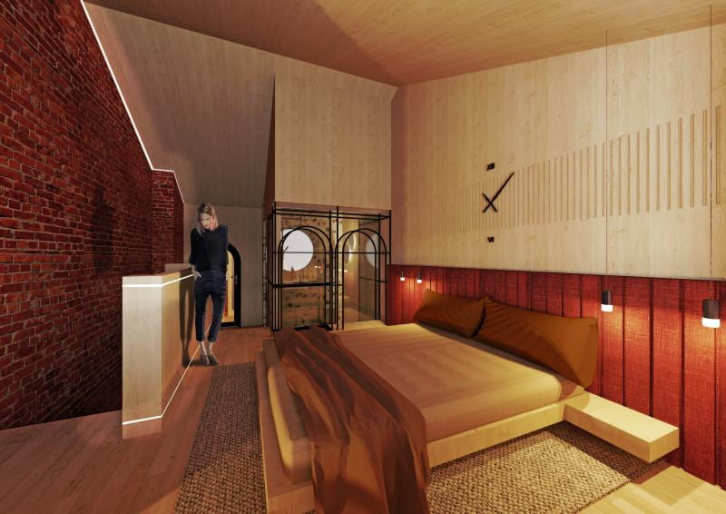Visual depicting one of the hotel room proposals.