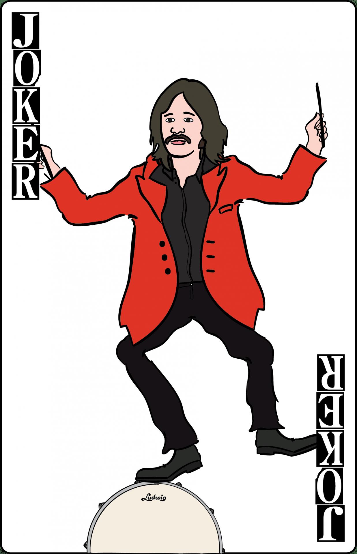 Illustration,  Ringo Starr on a Joker playing card.