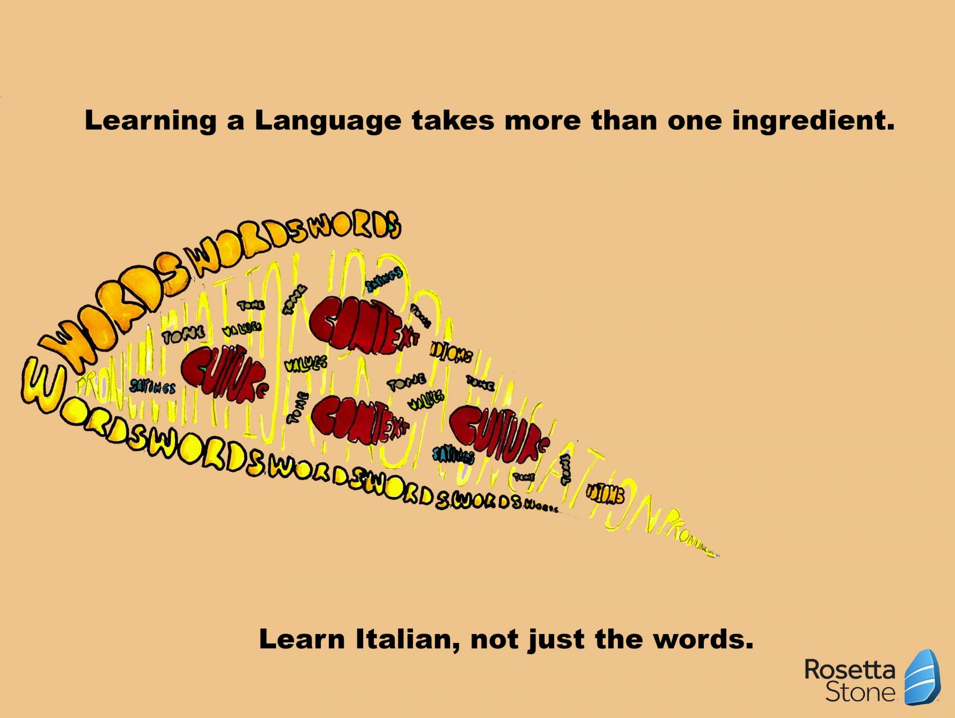Illustration of a pizza made up from a variety of words with caption: Learn Italian, not just the words