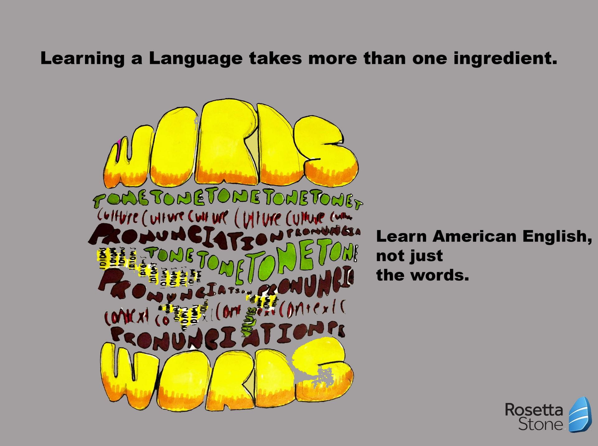 Illustration of a burger made up from a variety of different words with the caption: Learn American English, not just the words
