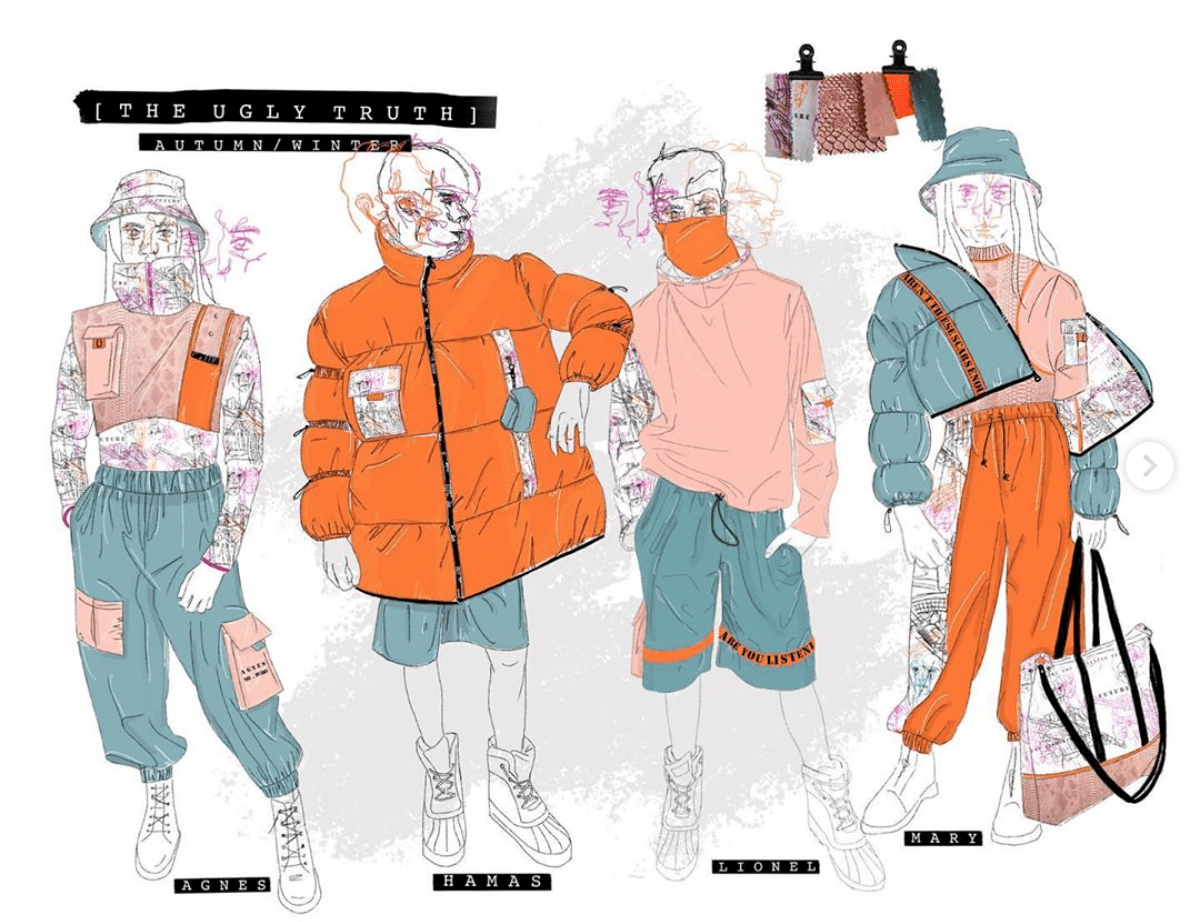 Sketches of four orange and green garments.