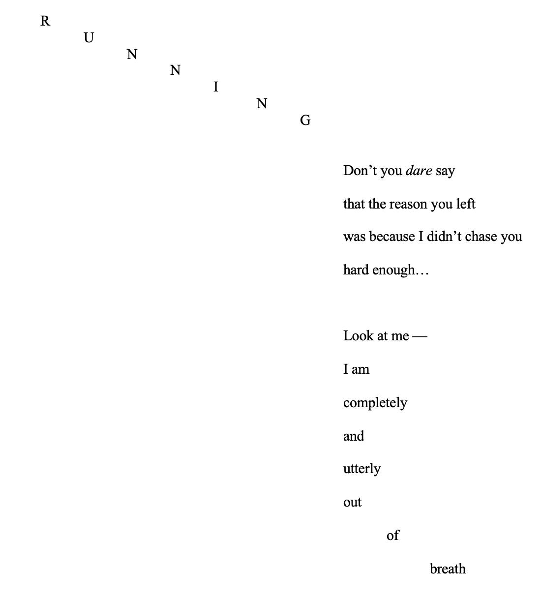 Poem titled 'Running'.