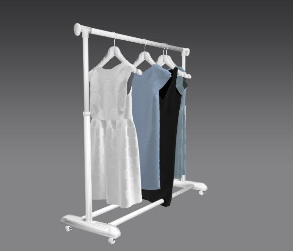 Digital image of dresses on a wrack.