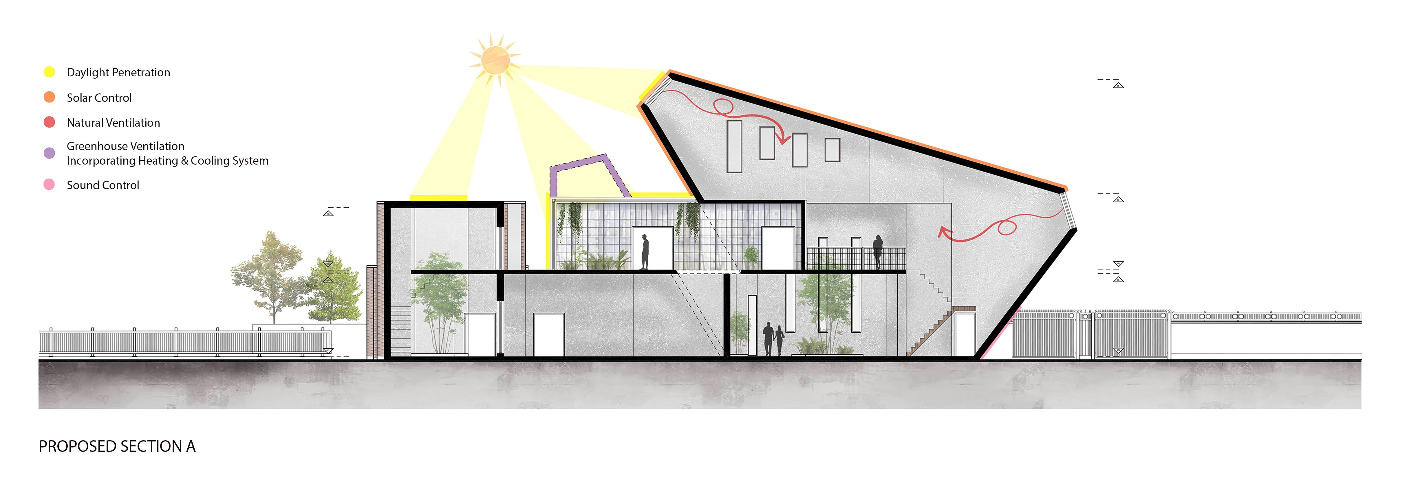 Sectional of building design showing how light enters the building