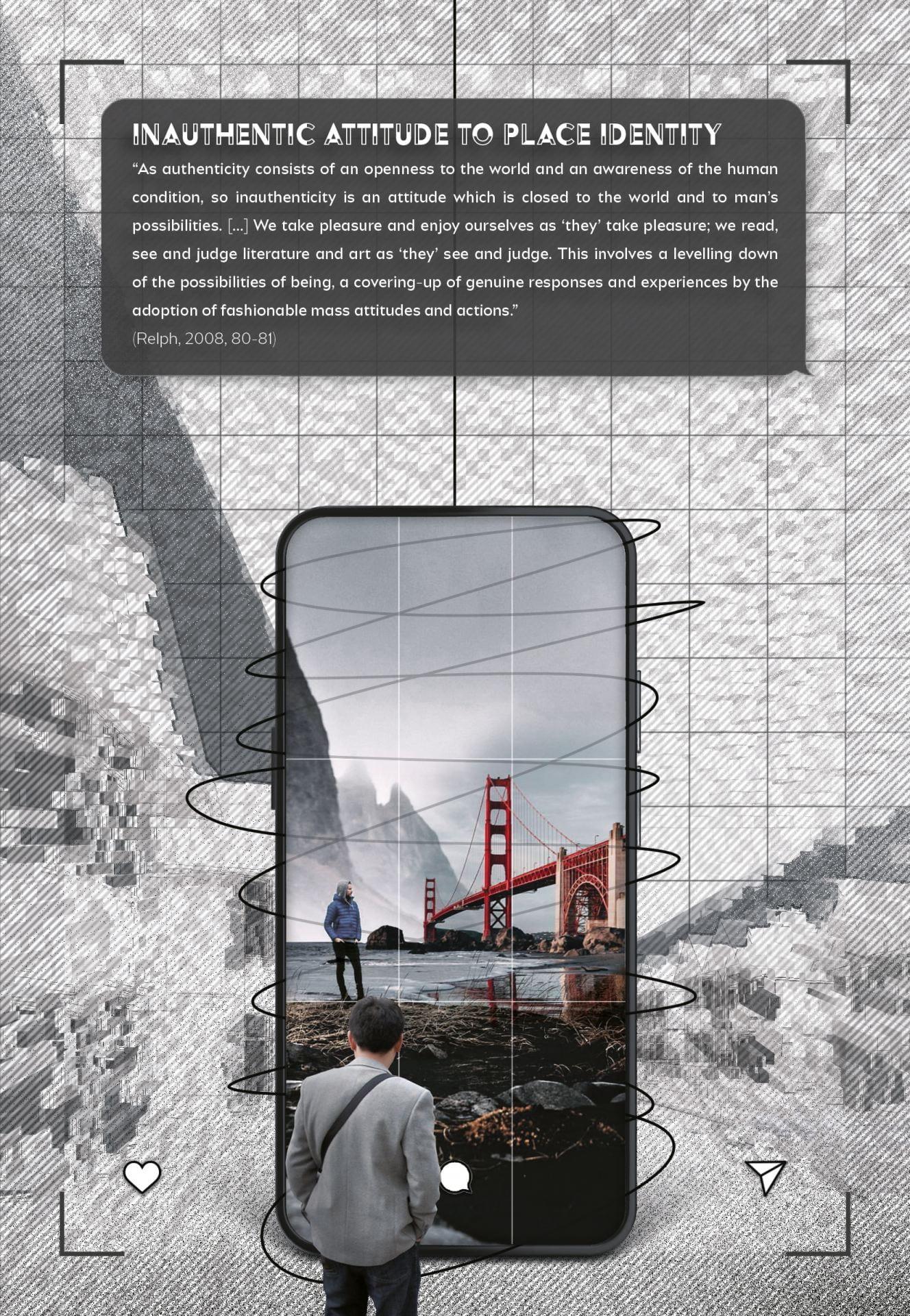 Concept of viewing a bridge through a phone.