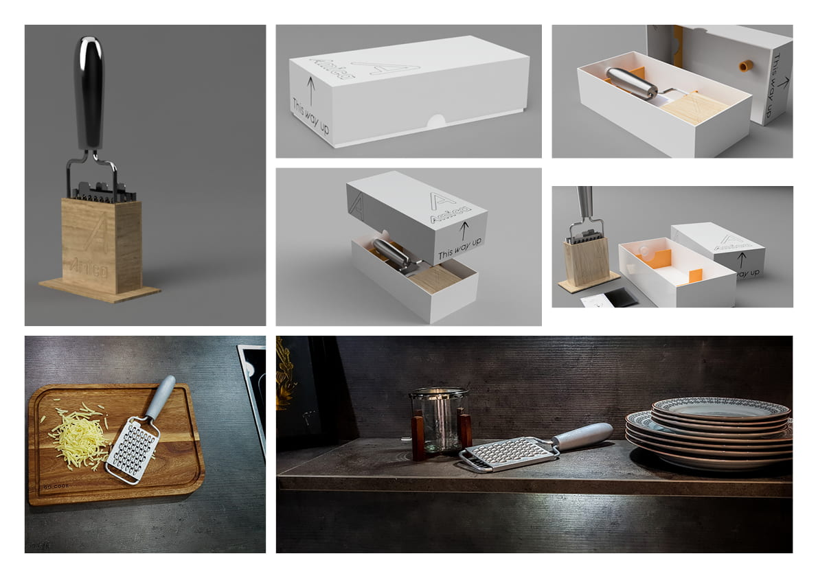 Kitchen Brief: Final renders of the product, including stand and packaging, bottom two pictures are of the physical model in-scene.