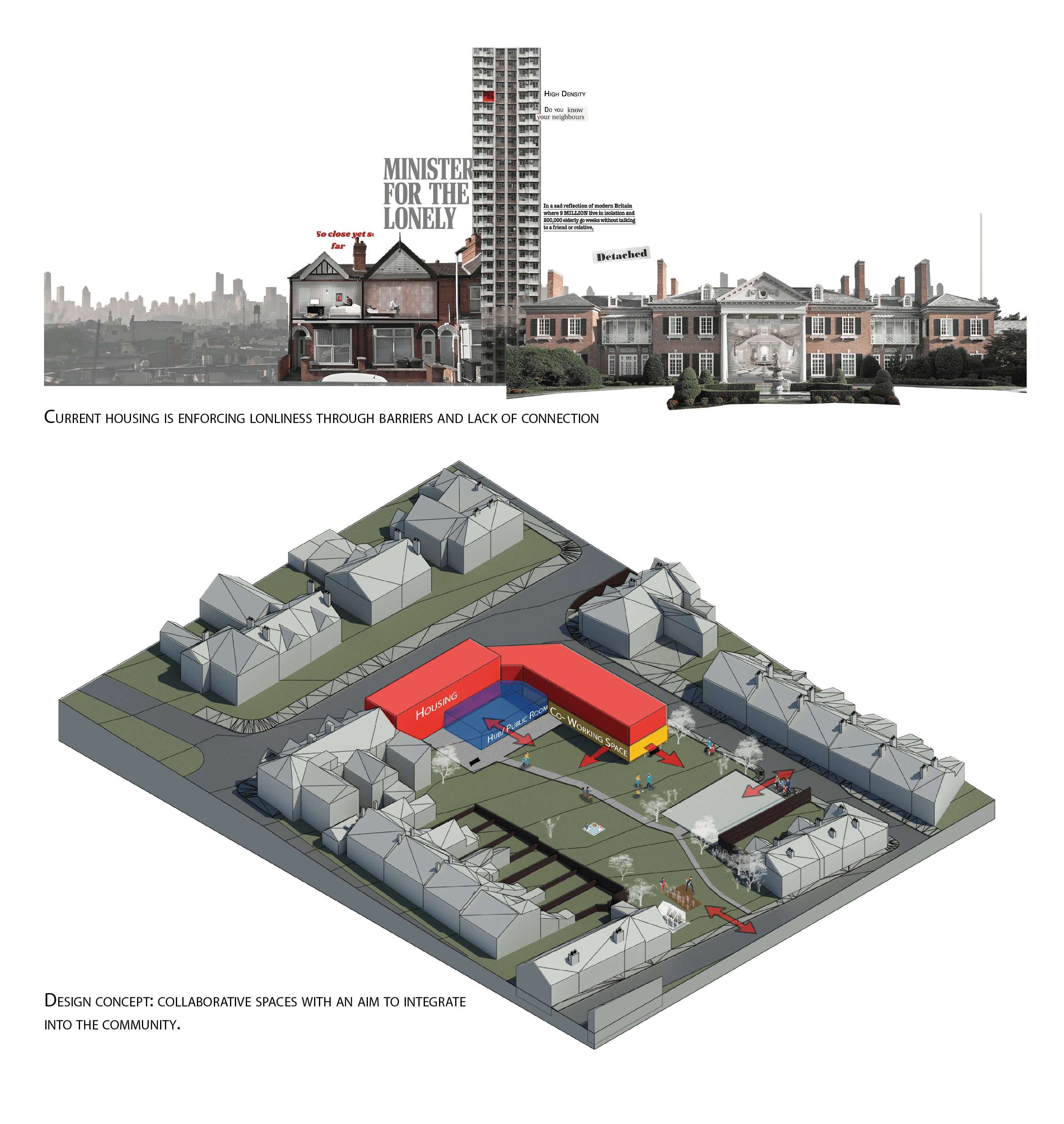 Cross section of a number of buildings include Grenfell Tower and a design concept depicting collaborative spaces.