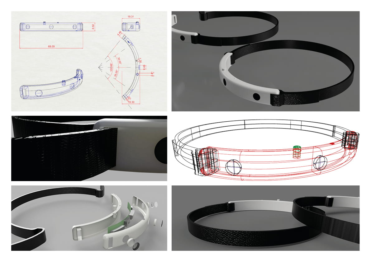 Barrier Free Technology Brief: Renders of the final product, including exploded view and technical drawing.