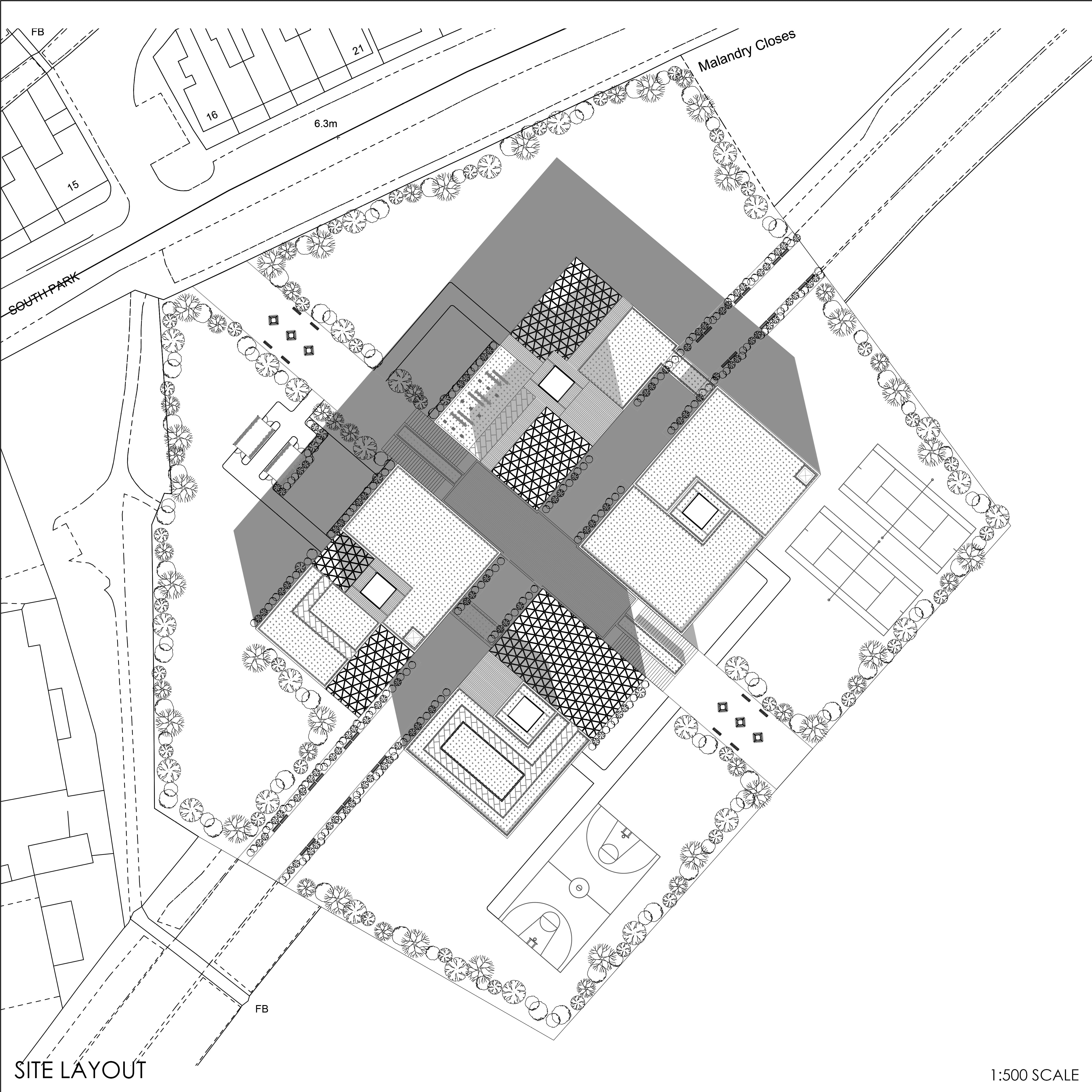 Site map showing where the building will sit
