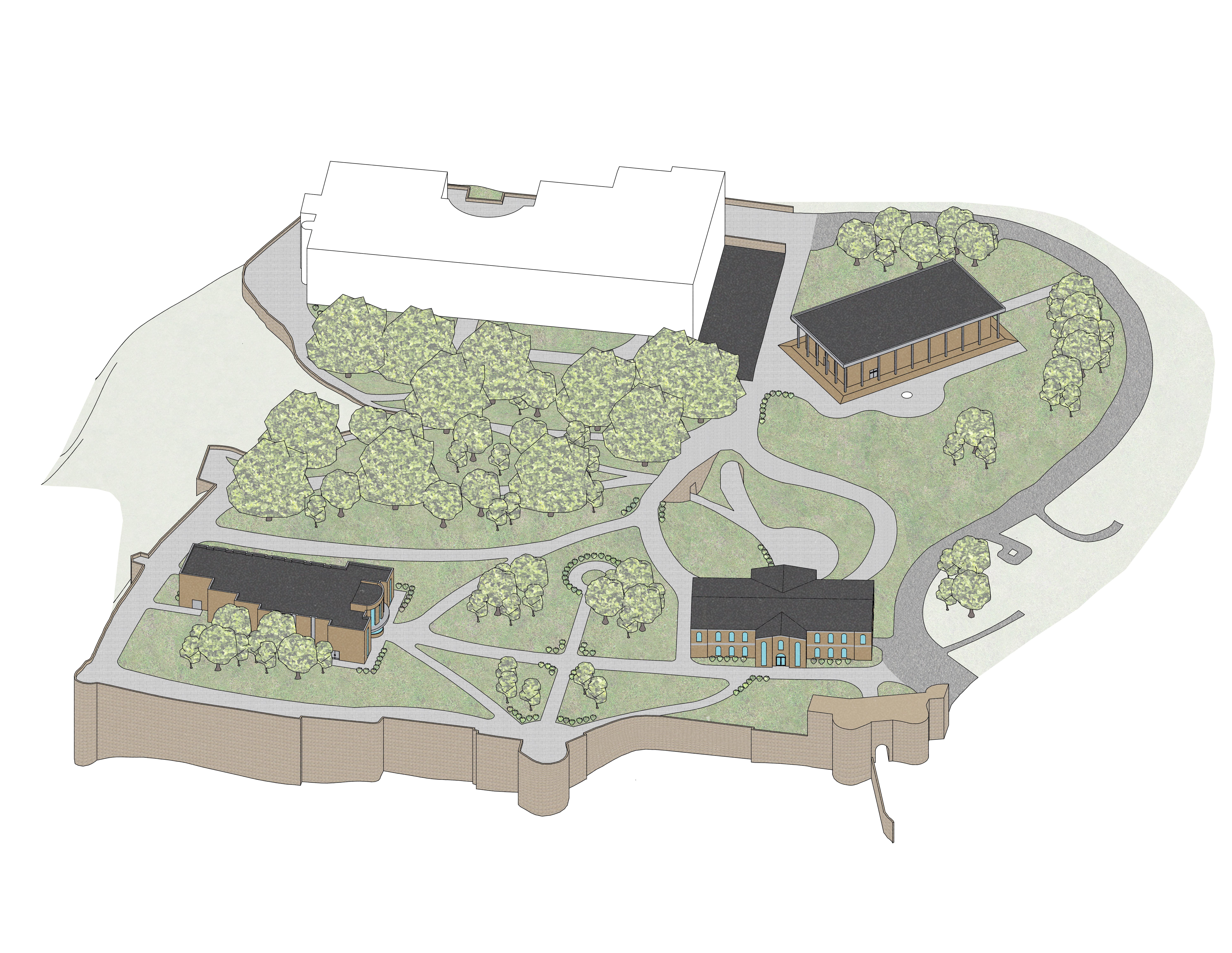 3d Axonometric Drawing of the Complete Site