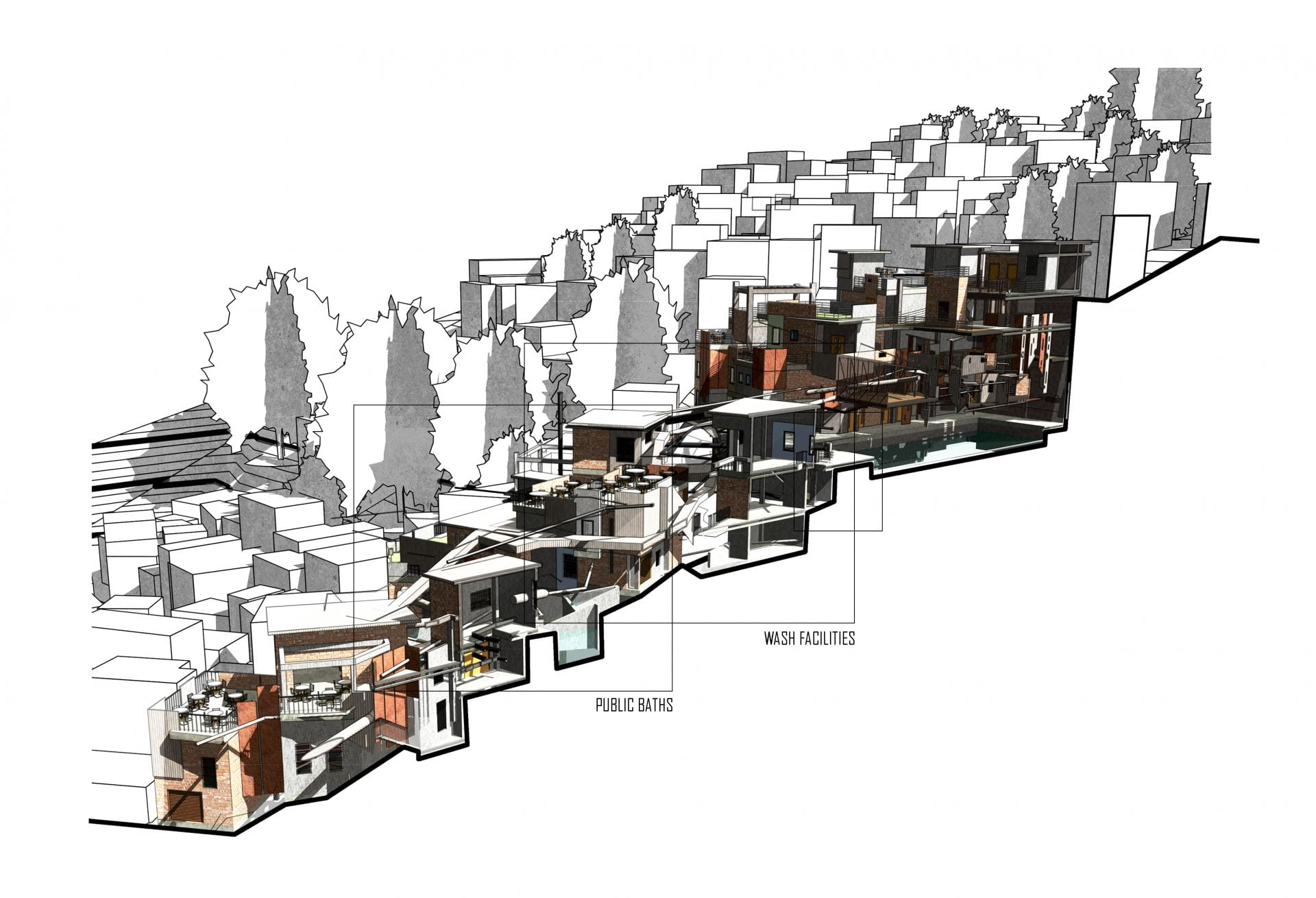 The development is deconstructed throughout the site to ensure the small scale repetitive architectural language of the favela is maintained.