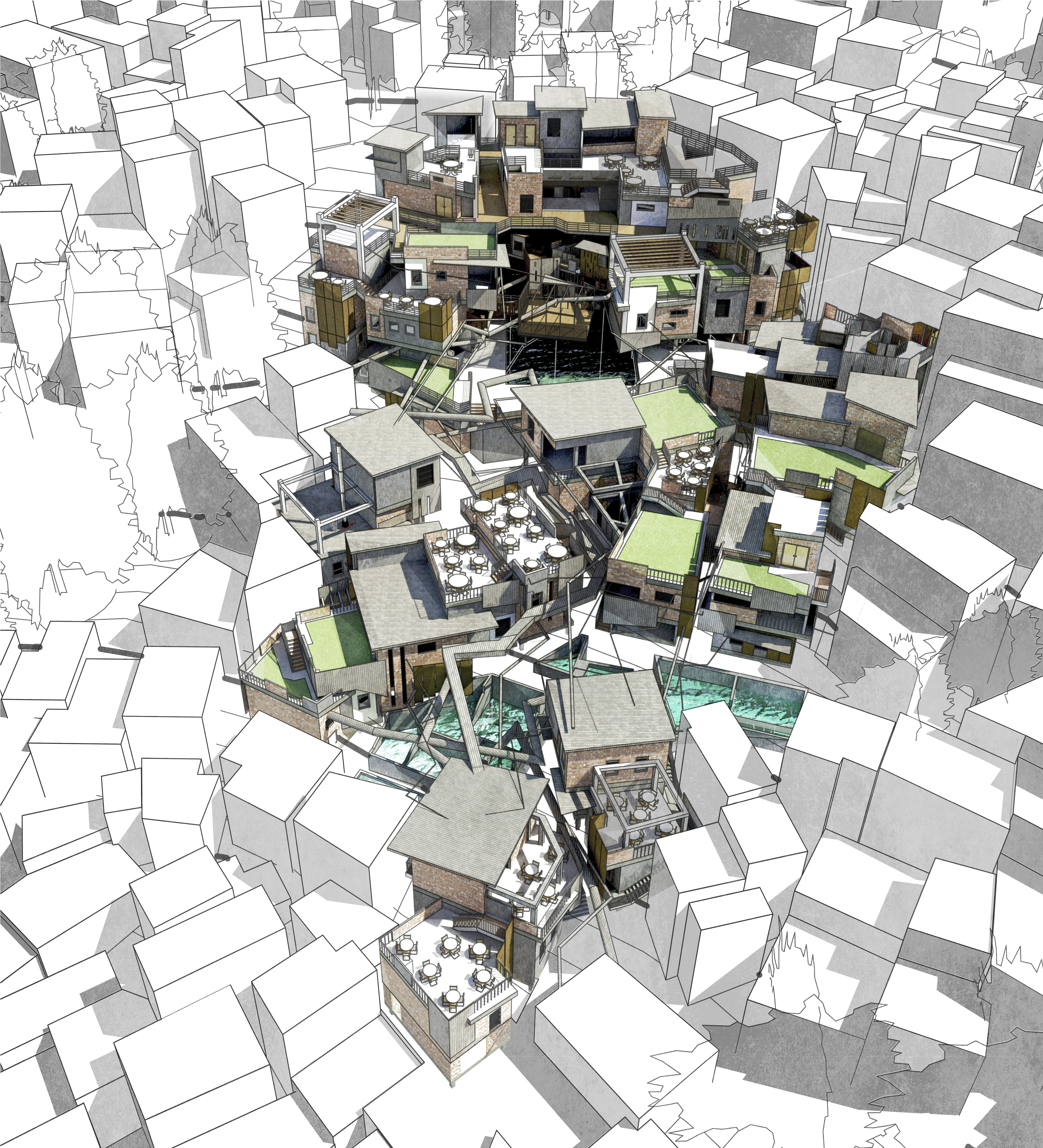 The proposal contextually integrates into the surrounding favela by respecting the existing fluid urban fabric and the chaotic treatment of materiality.