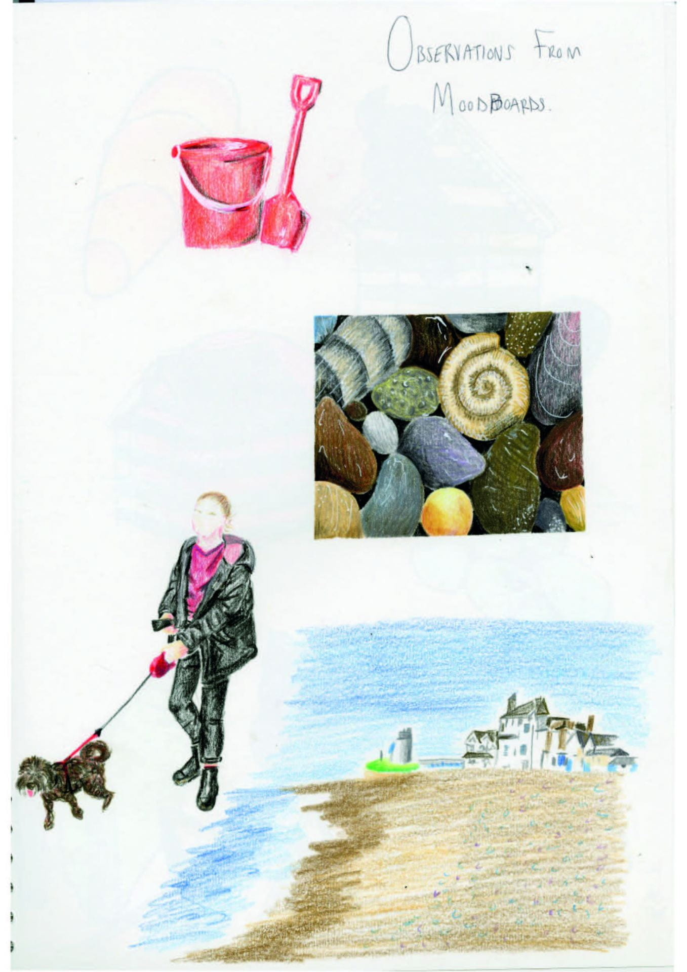 Sketch of a post depicting a red bucket and spade, sea shells and someone walking their dog on the beach.