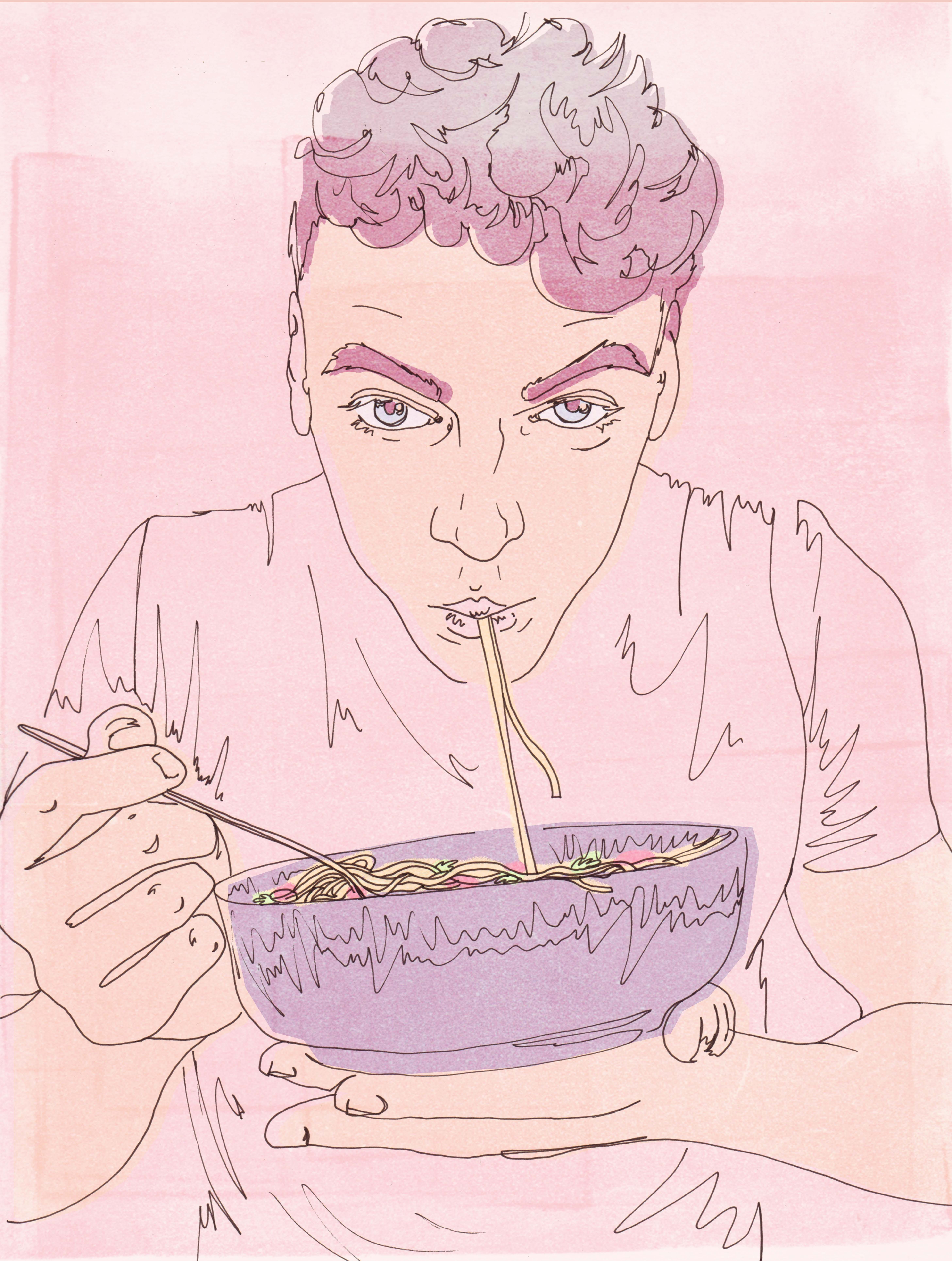 Illustration, a young man eating spaghetti from a bowl.