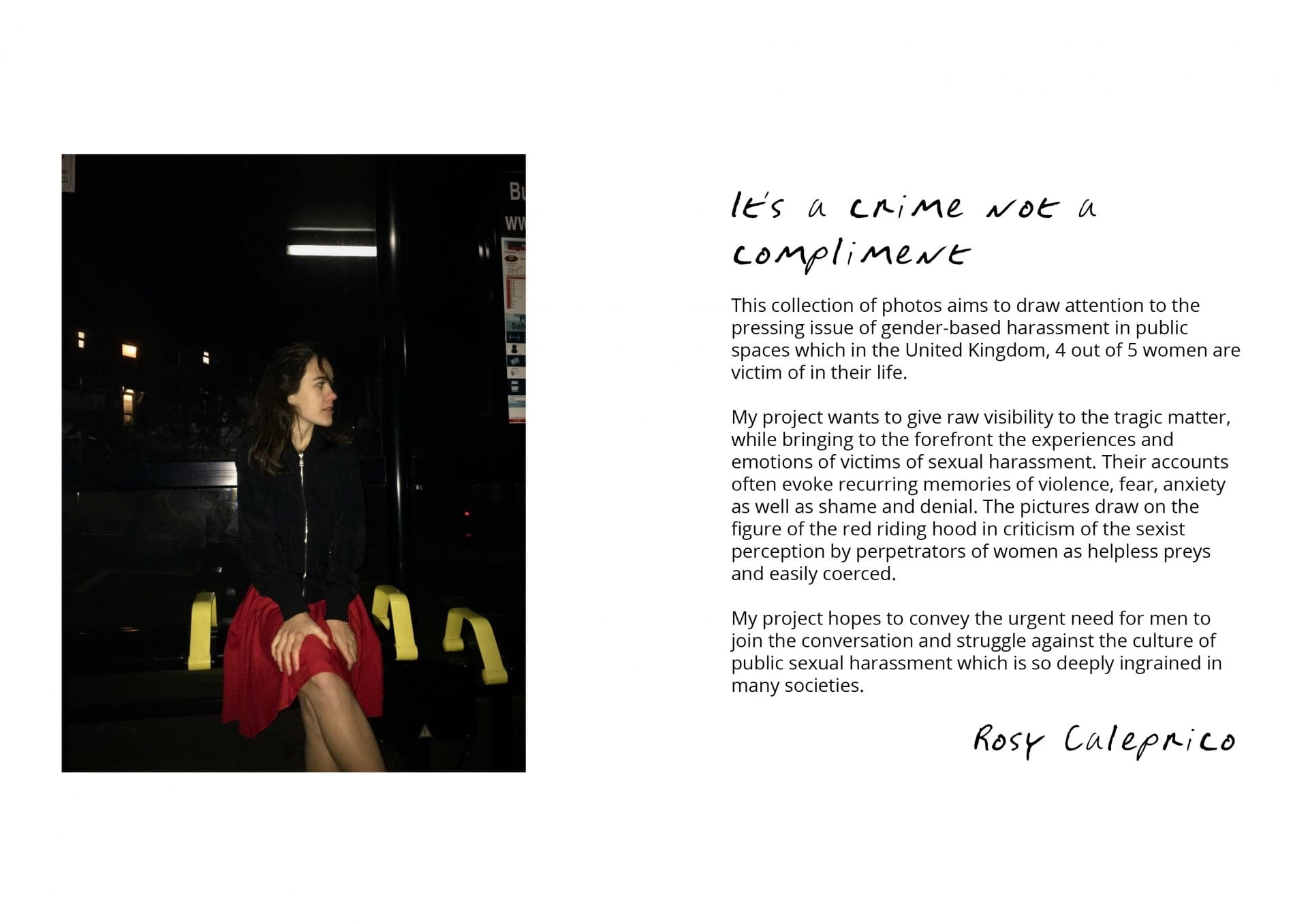 Photograph by Rosy Caleprico. Photo of a girl sat in a bus stop at night.