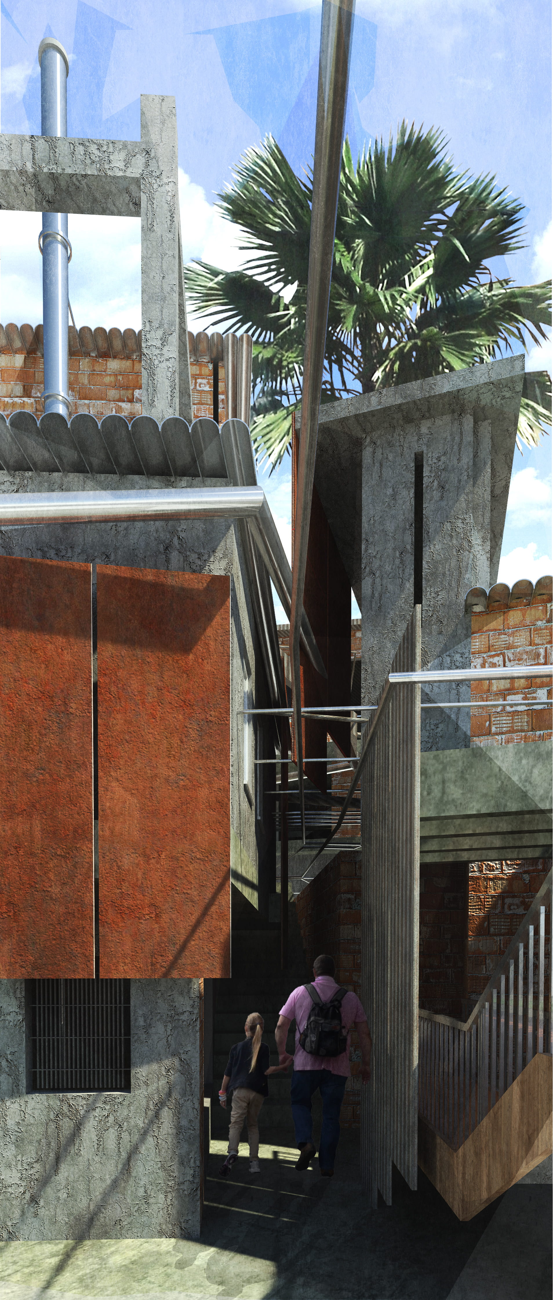 The reimagining of the existing alleyways within the favela creates an architectural conversation between light, infrastructure and materiality.