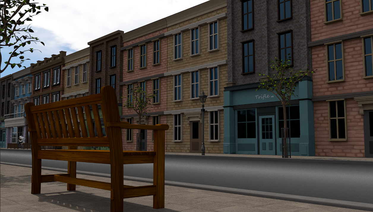 A capture from an arnold render of the street in my short film using various buildings and HDR lighting.