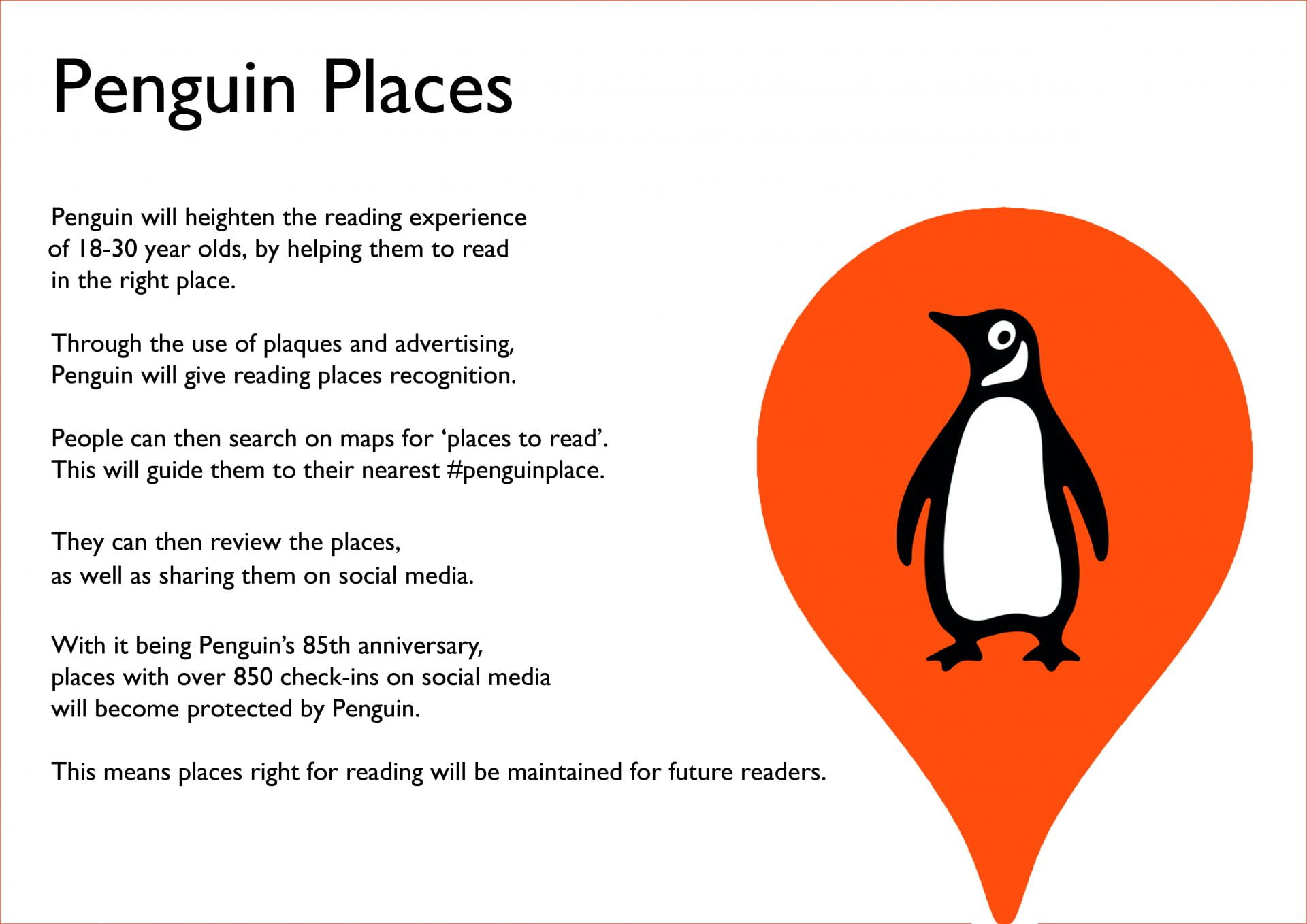 Continuation of concept of idea on white background and Penguin logo.