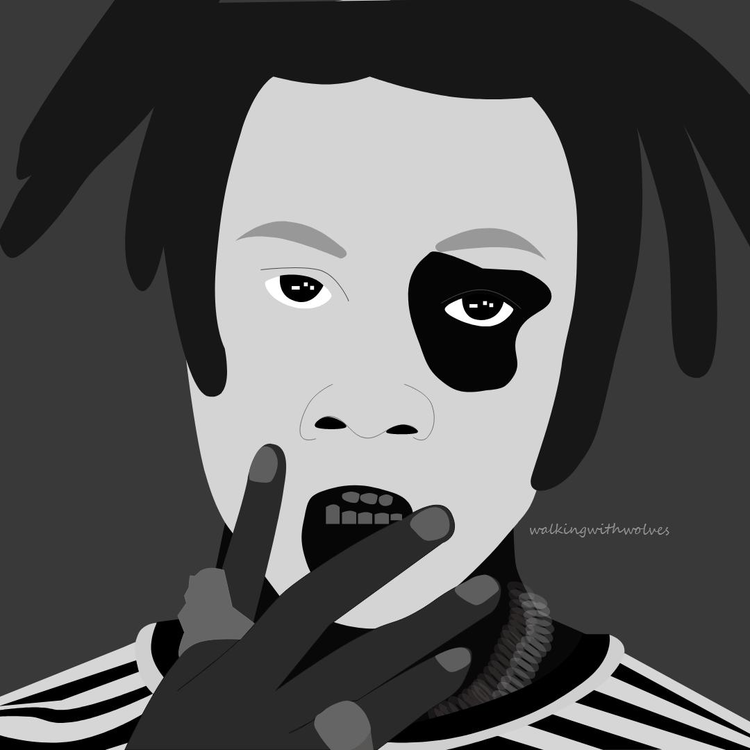 Digital portrait illustration in black and white