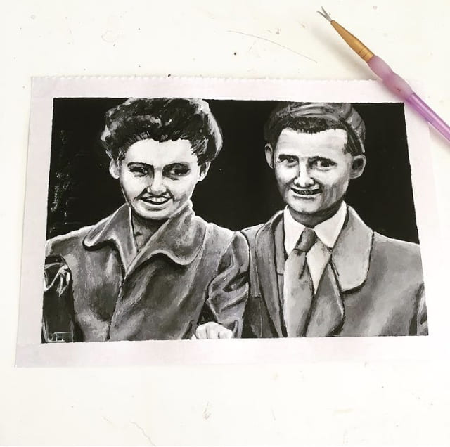 Grey-scale portrait completed after reading The Tattooist of Auschwitz - Heather Morris