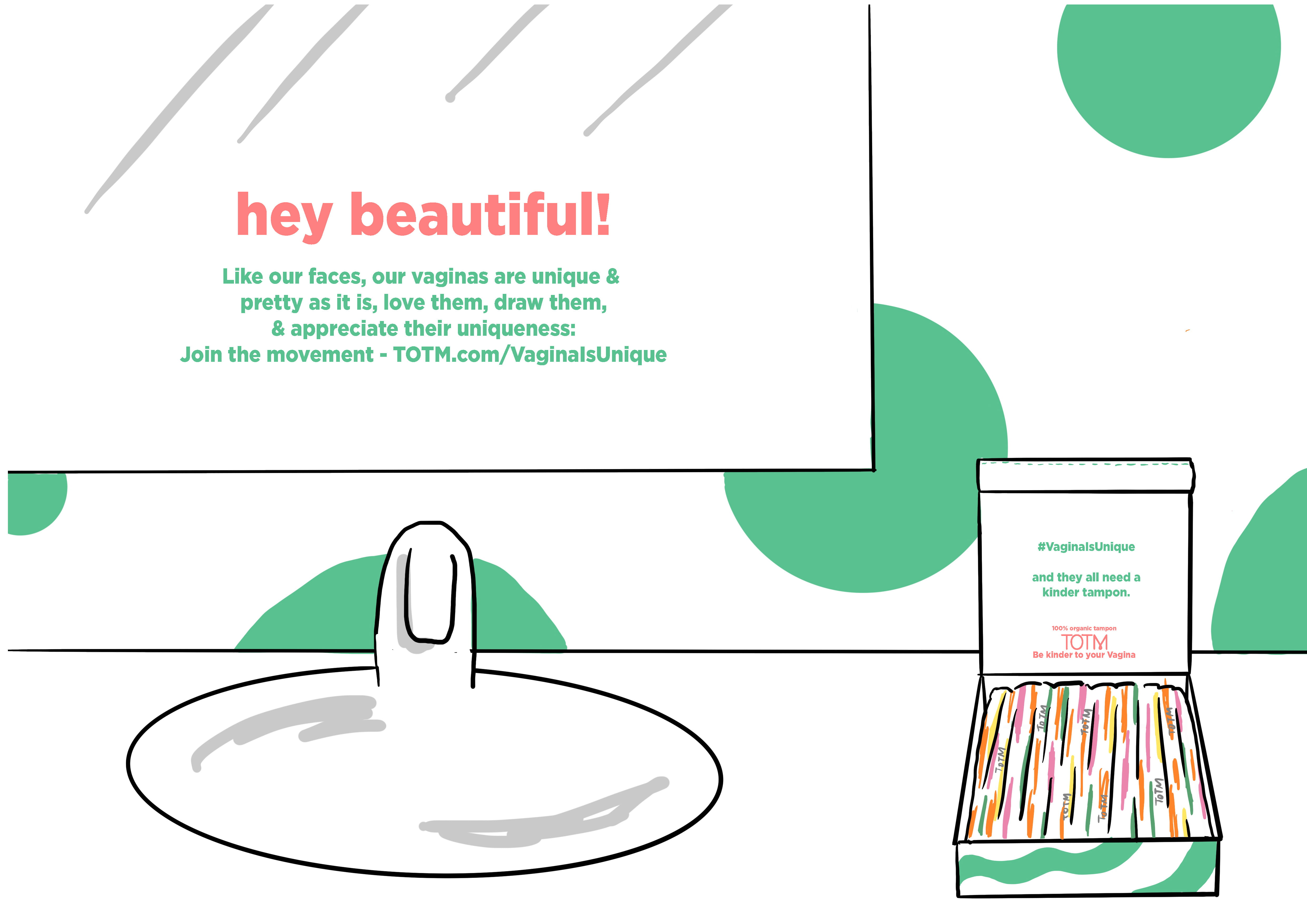 Illustration of a mirror with product slogan and box of tampons.