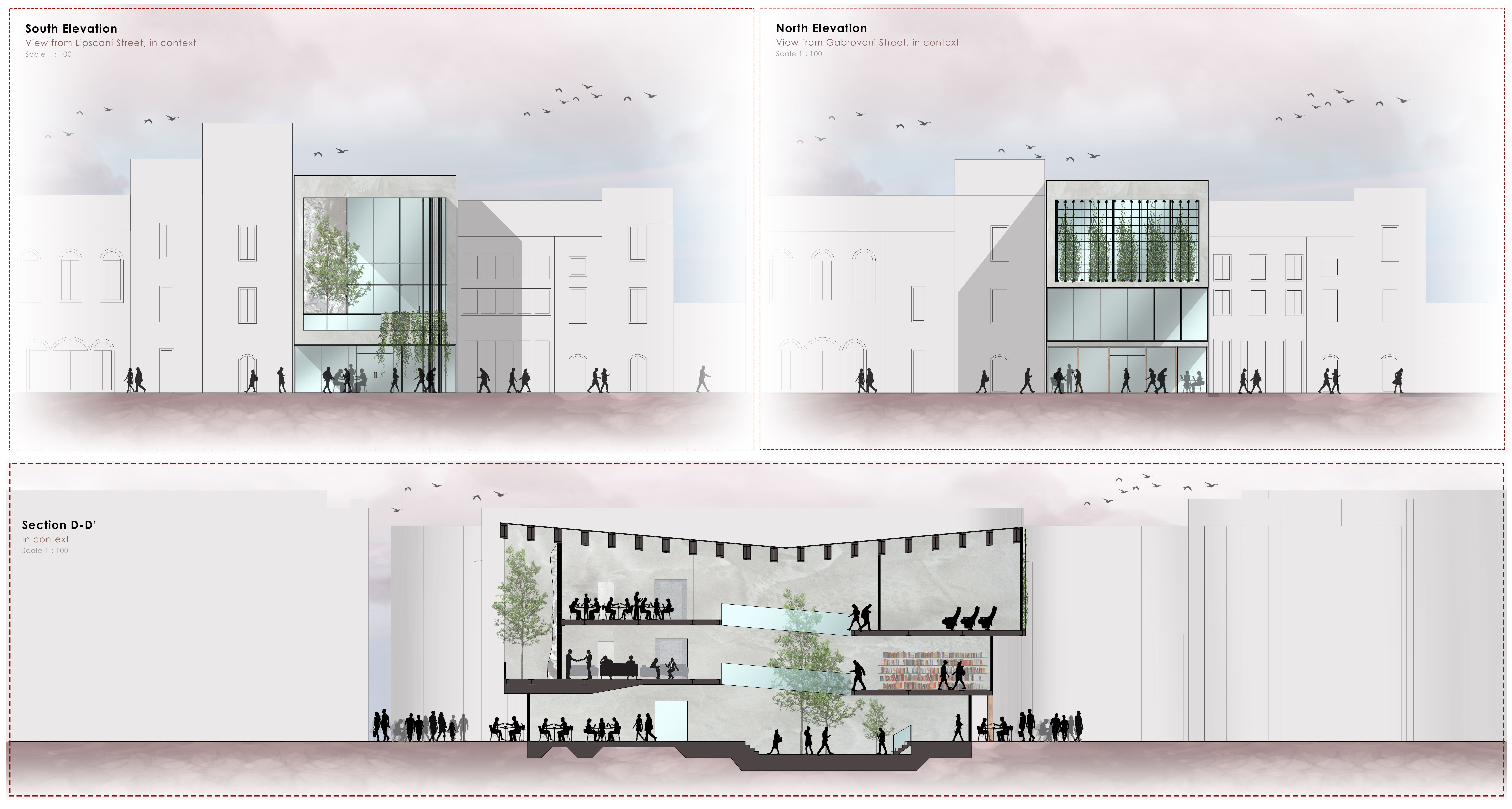 Elevations and sections of the proposed design.