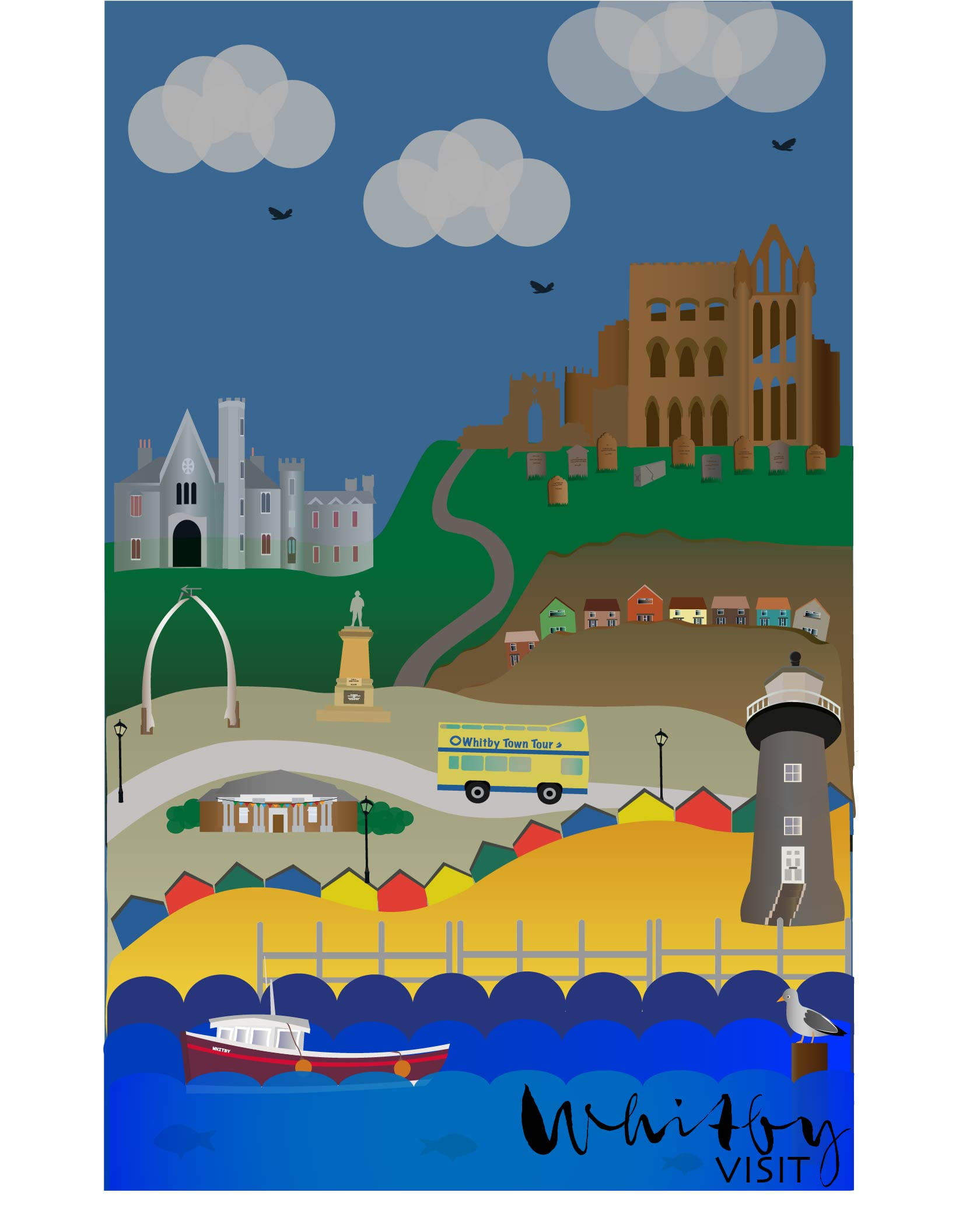 Illustration. A poster composed of minimalist drawings of Whitby landmarks, text at the bottom reads: