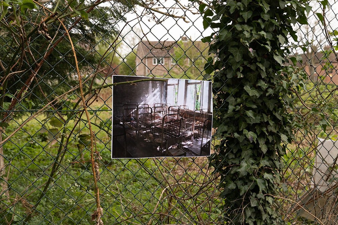 Close-up photograph of metal fencing with a photograph pinned to it.