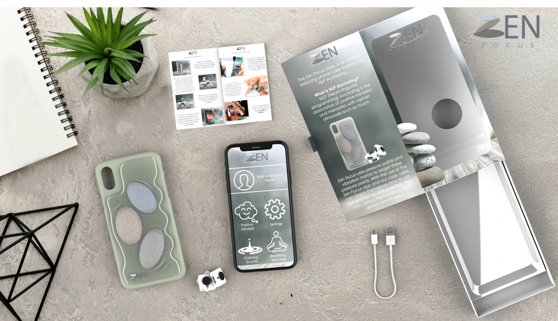 Flatlay showing all that is included when you buy a Zen Focus phone case, including a phone, case, booklet, app, box and cable.