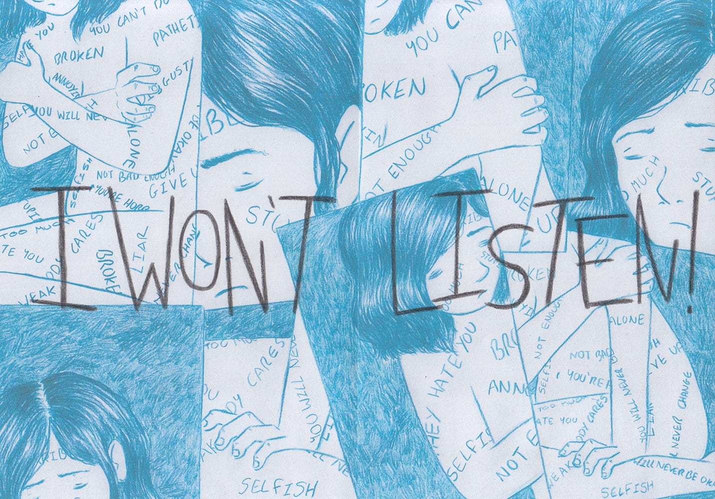 Illustration created to be a spread in a zine about protesting against the negative voices in your head.