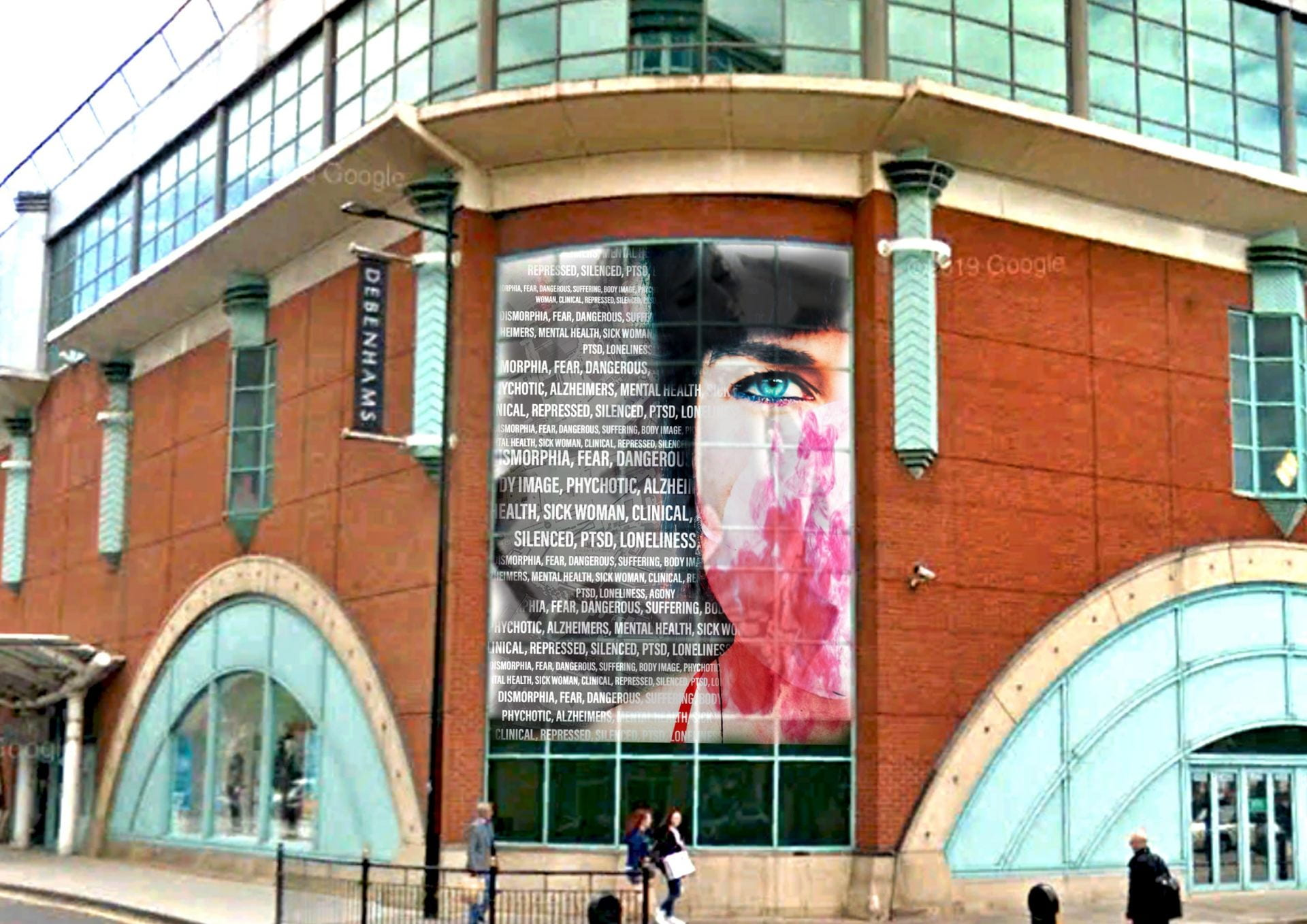 Digitally layered portraiture and typography mural designed to raise awareness for silent illnesses.  One of a series as part of end of my virtual tour of through lincoln.