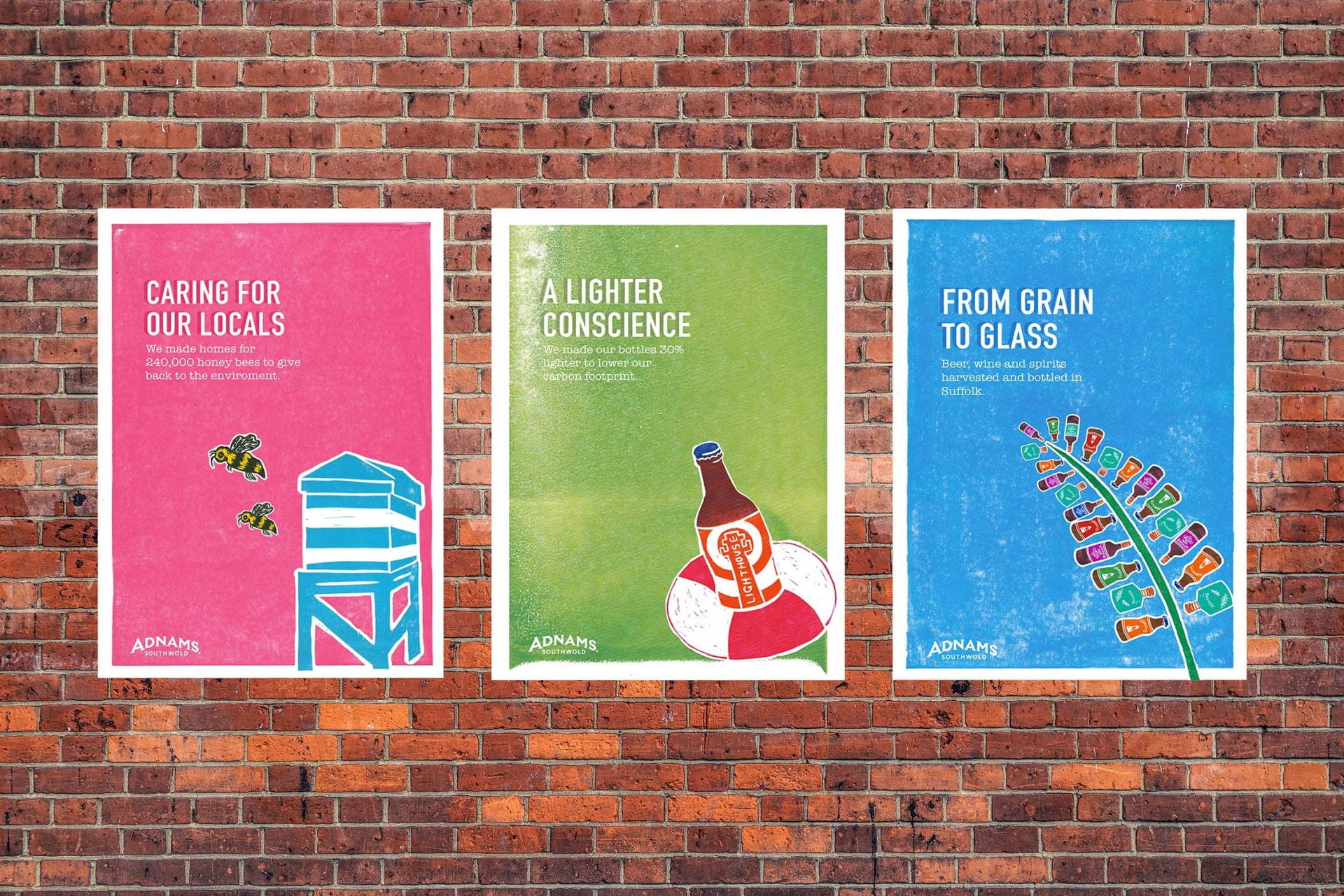 Adnams lino printed poster designs, D&AD New Blood 2018.