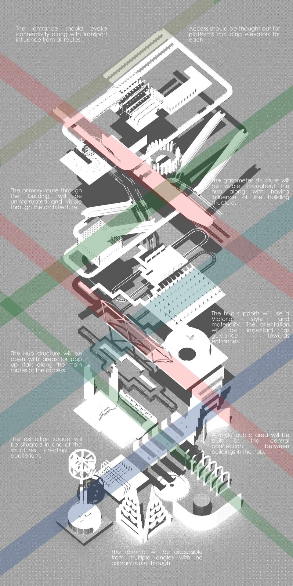 Axonometric diagram showing the concept behind the transit hub design.