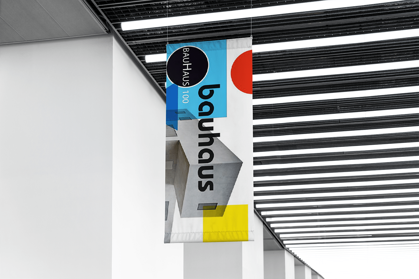 A pennant hanging from the ceiling displaying the Bauhaus design.