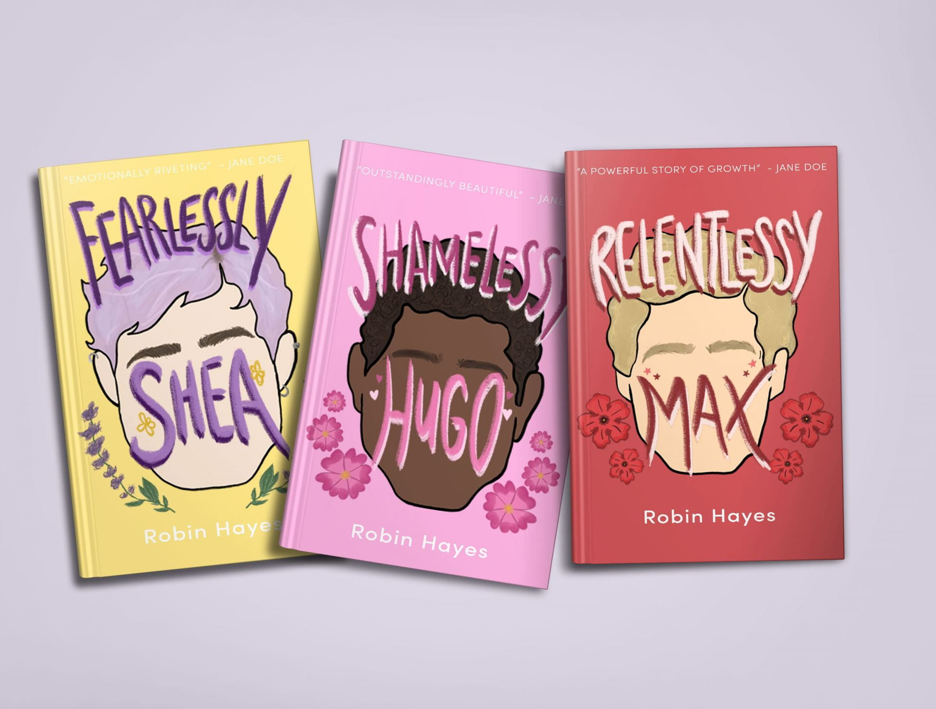 Yellow, pink and red Book cover designs.