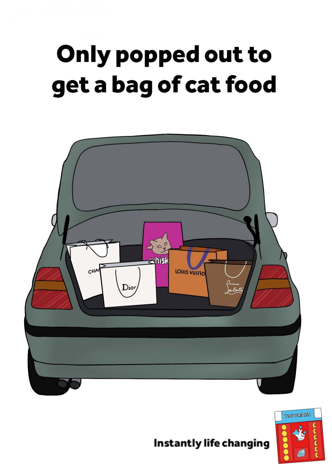 Illustration of car boot full of designer shopping bags and a bag of cat food with the tagline 'Only popped out to get a bag of cat food' (6-sheet).