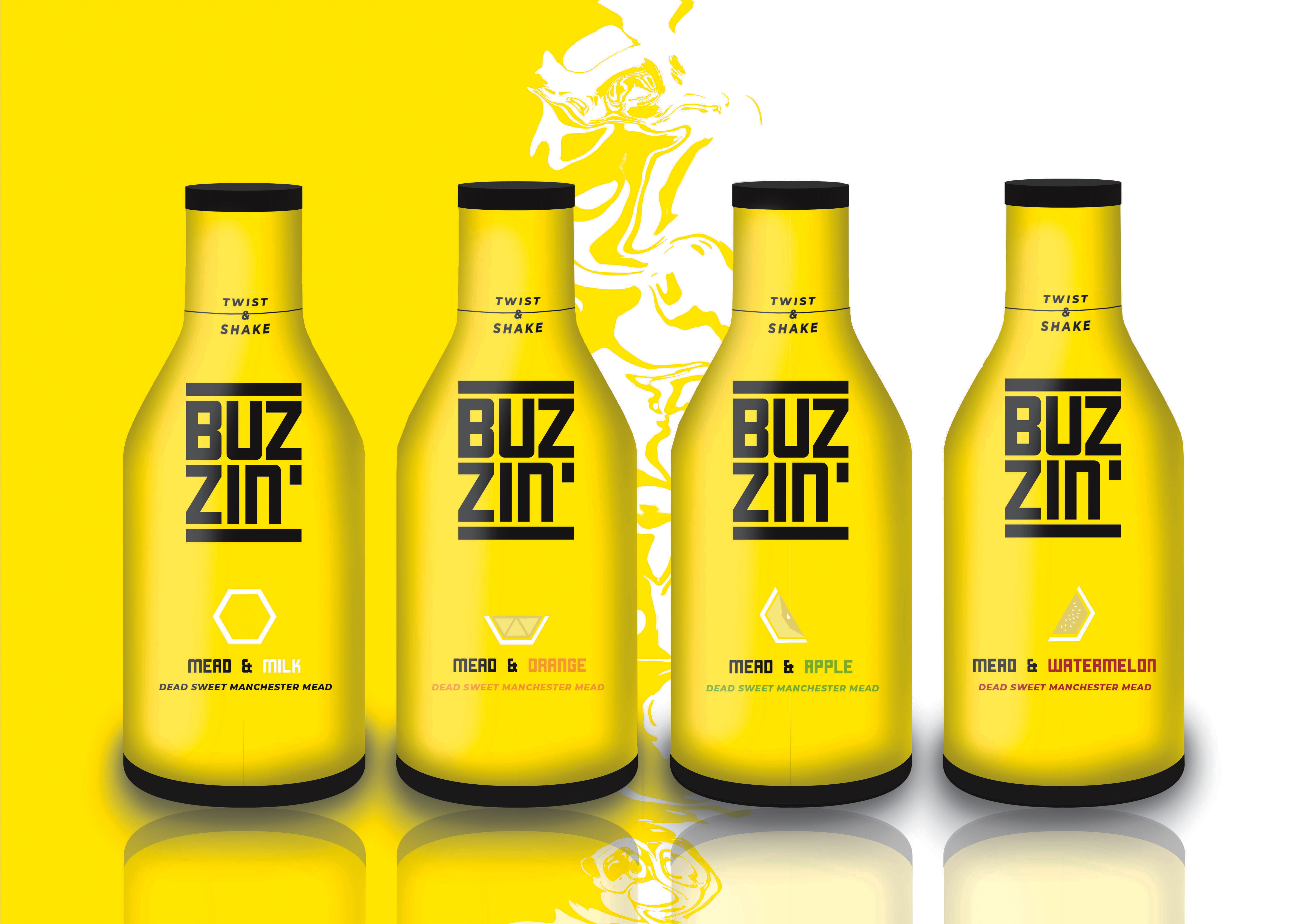 Yellow and black bottles of Mead with the title: 'Buz zin' emblazoned upon them.