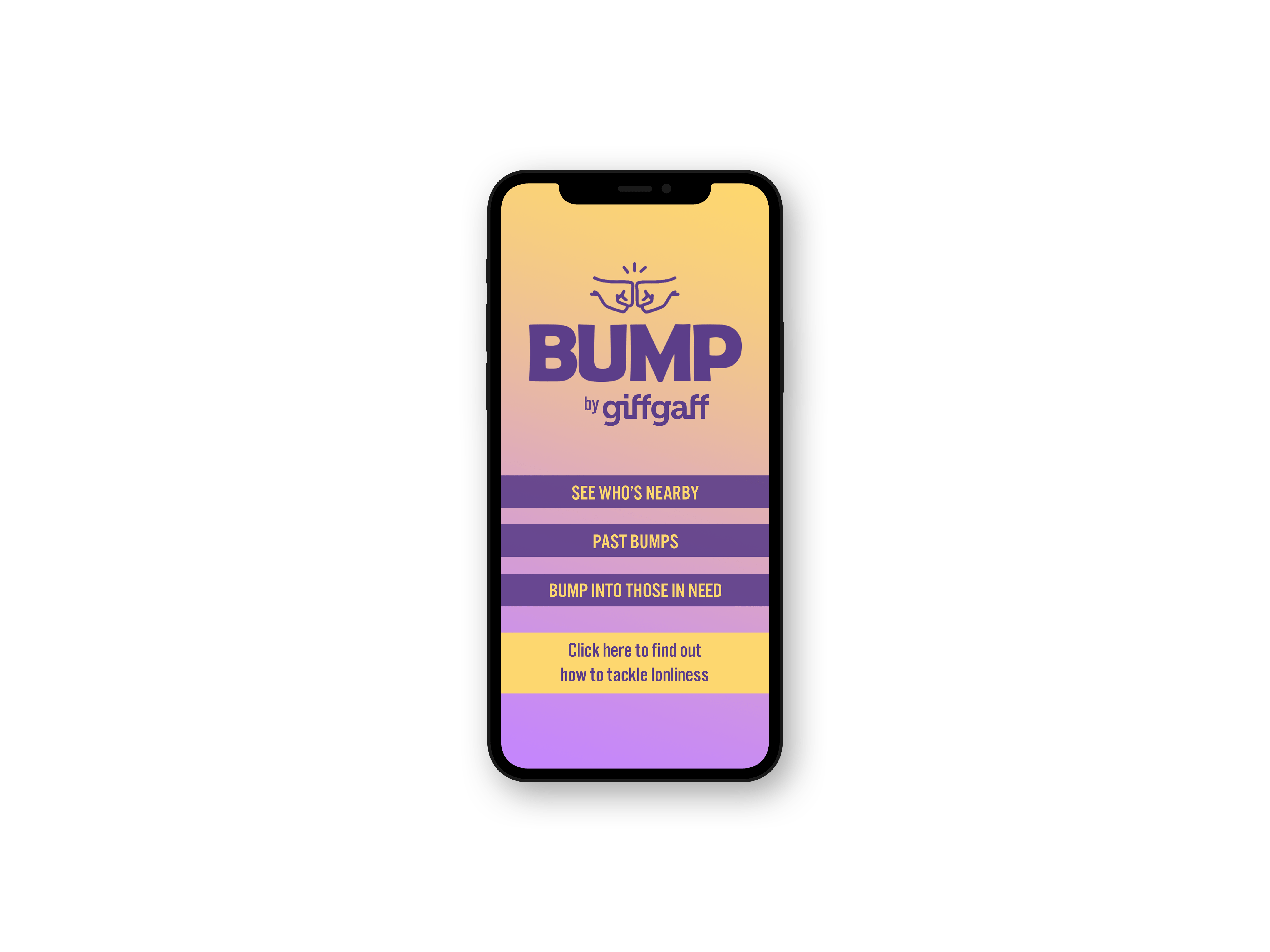 Mock up showing the bump app home screen.