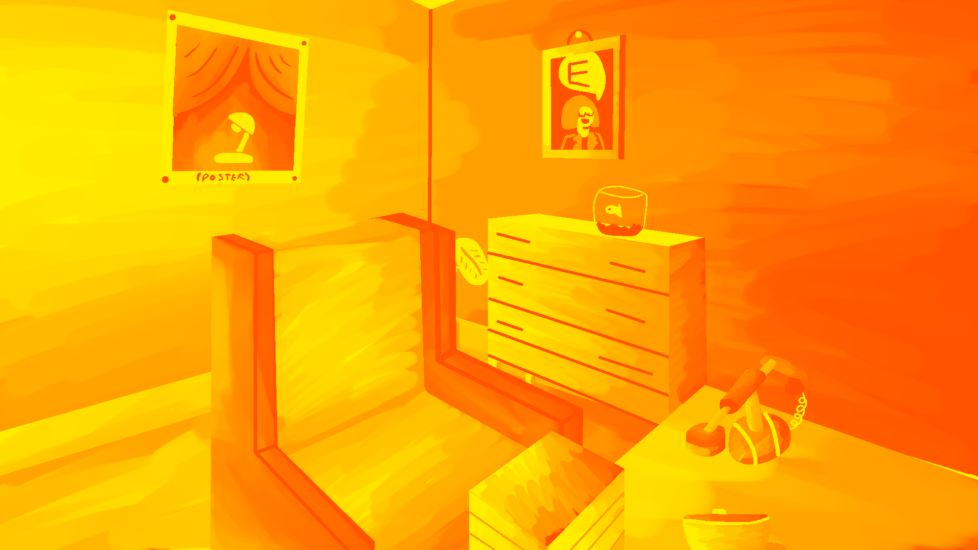 Illustration of an office in shades of orange.