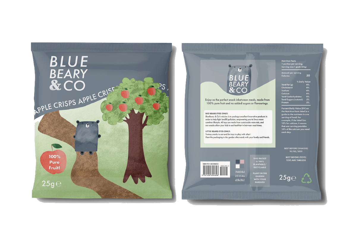 Healthy alternative to crisps and eco alternative to plastic wrappers
