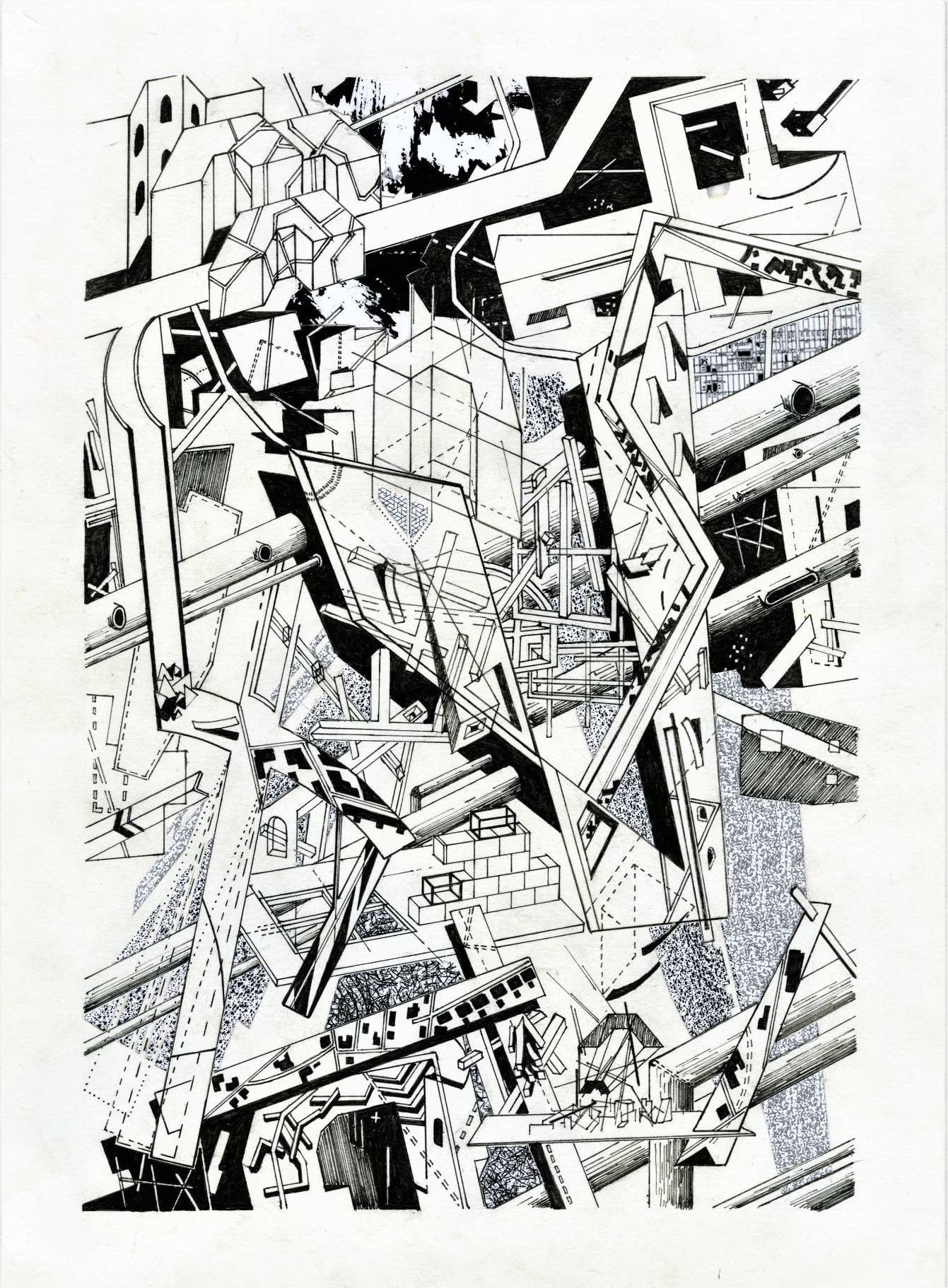 A black and white illustration, with maps, buildings and pipes, all colliding into each other.