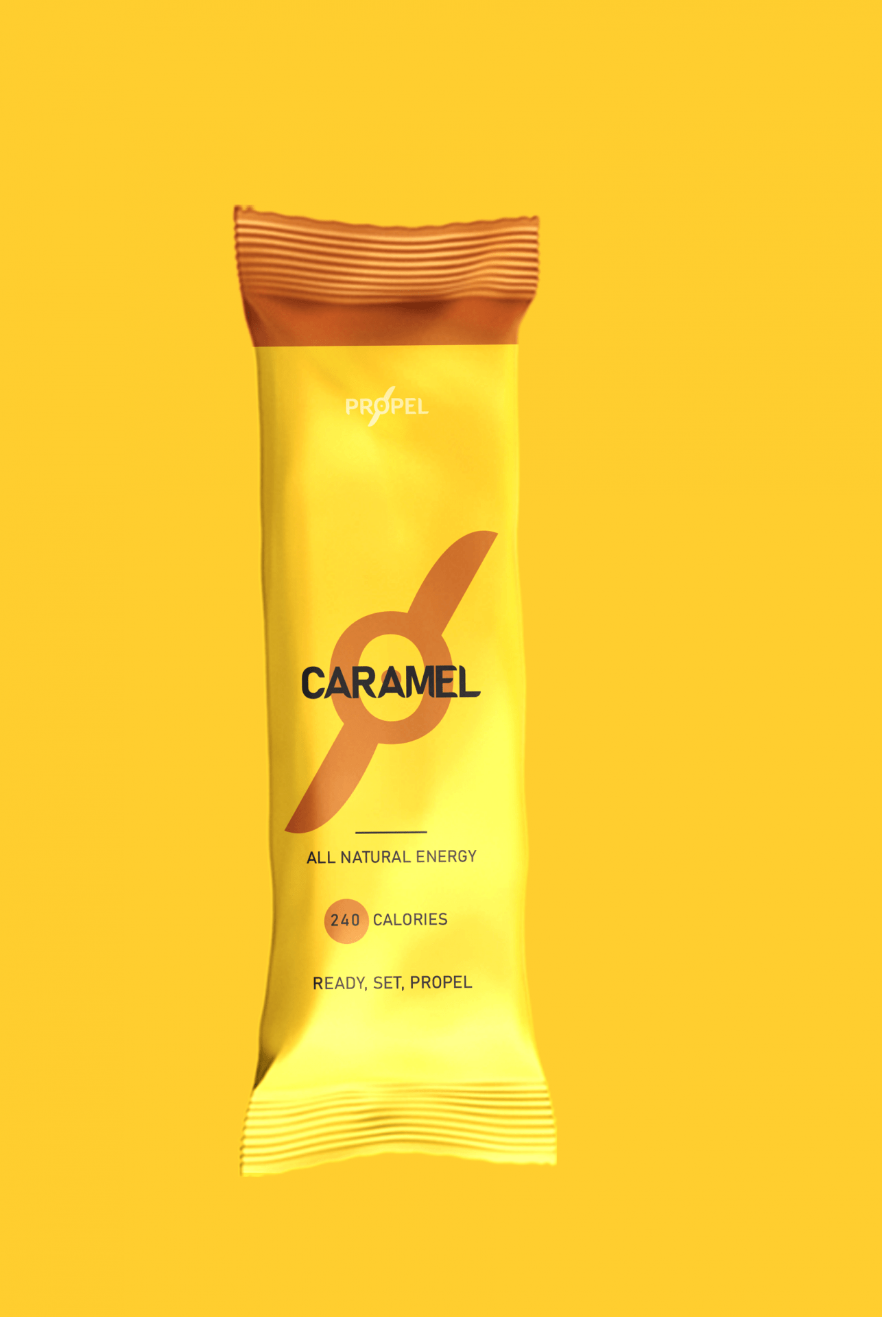 Yellow packaged caramel energy bar.