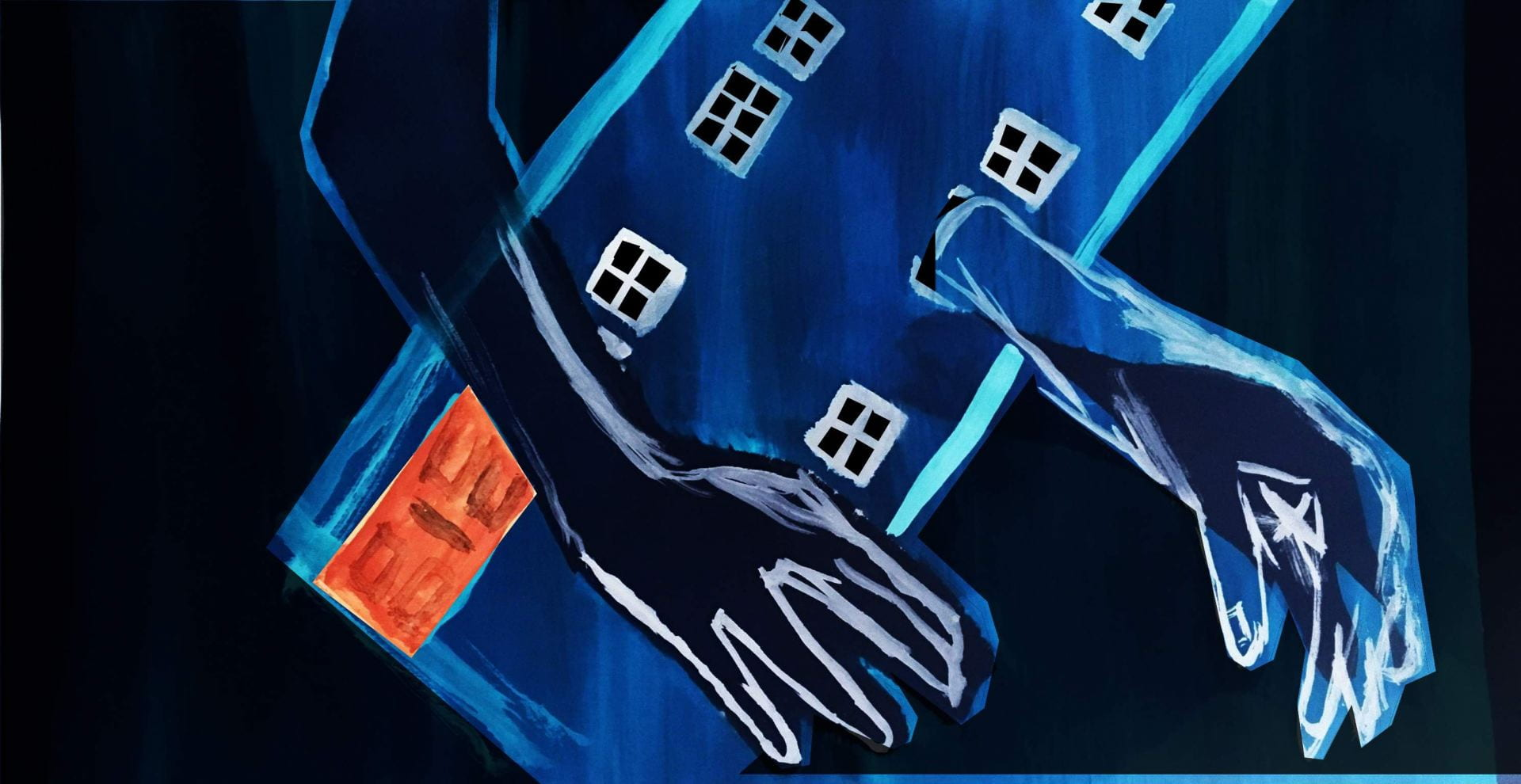 Illustration of a blue building with arms extended.