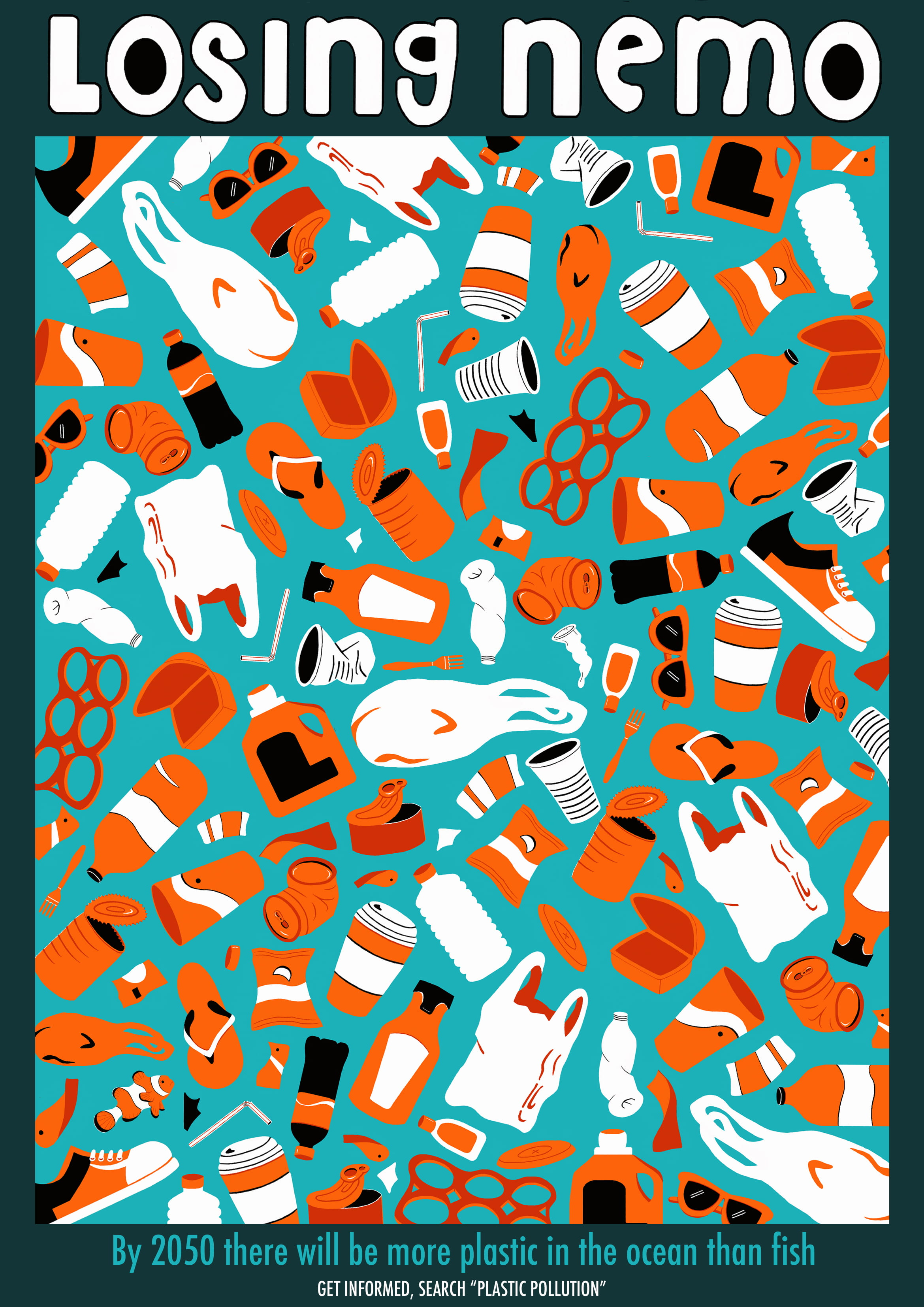 An illustrated poster, images of plastic waste in an orange and white colour scheme, the title reads: 'Losing Nemo'.