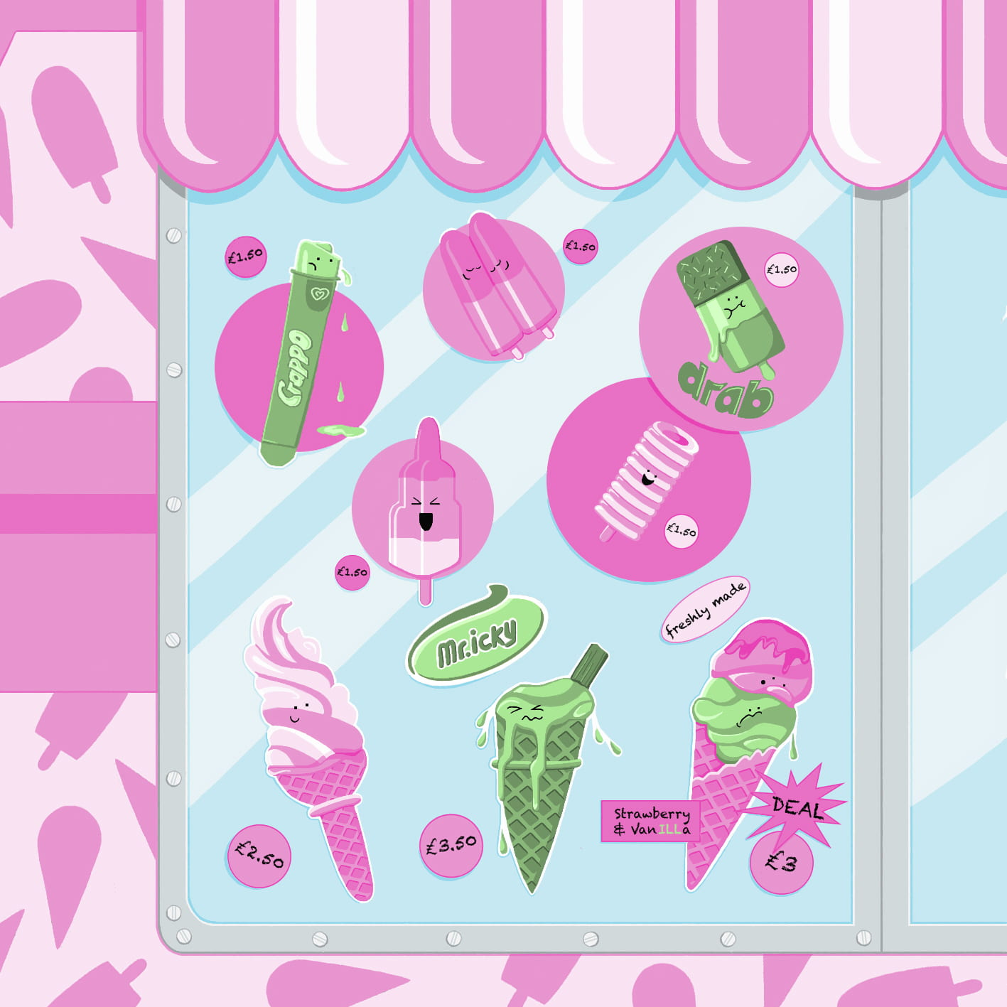 An illustration,  the window of an ice cream van, images of green ice creams representing illness opposed by images of pink ice creams, representing health..