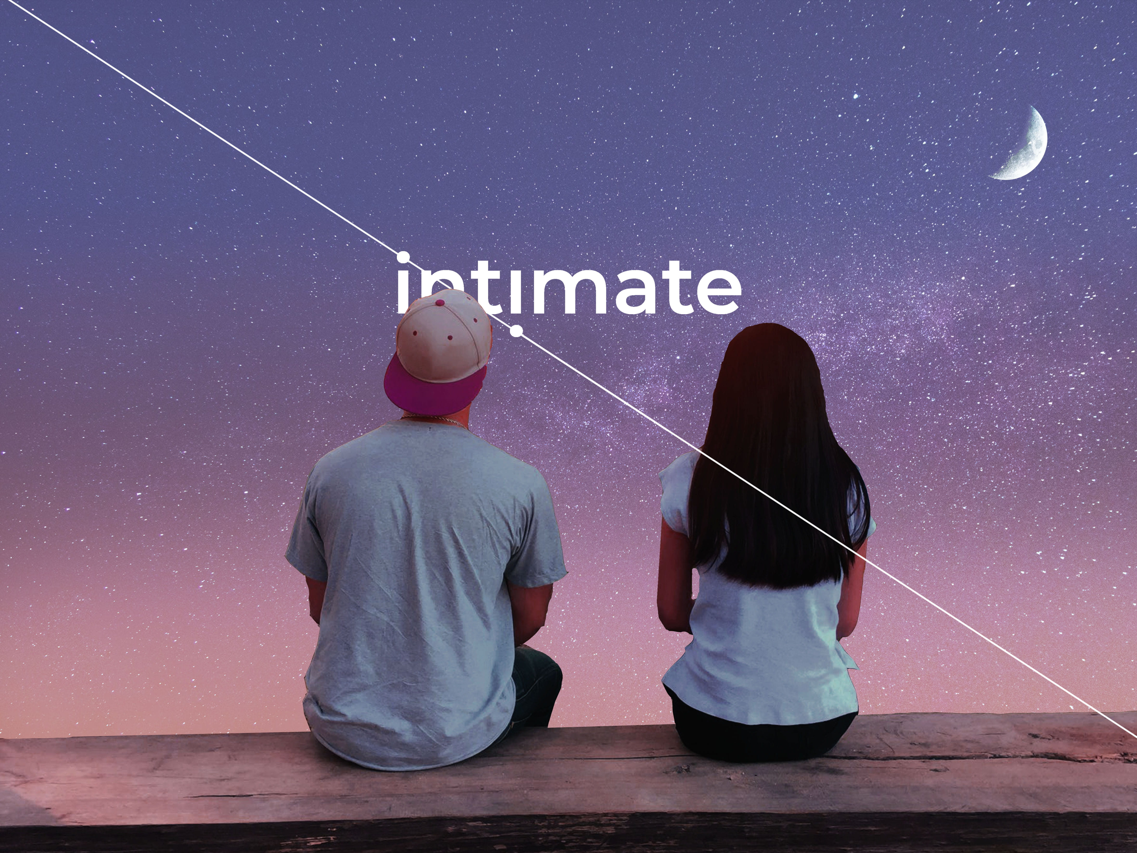 A man and woman sitting on a ledge, looking out onto a field of stars against a blue sky. Title reads: Intimate.
