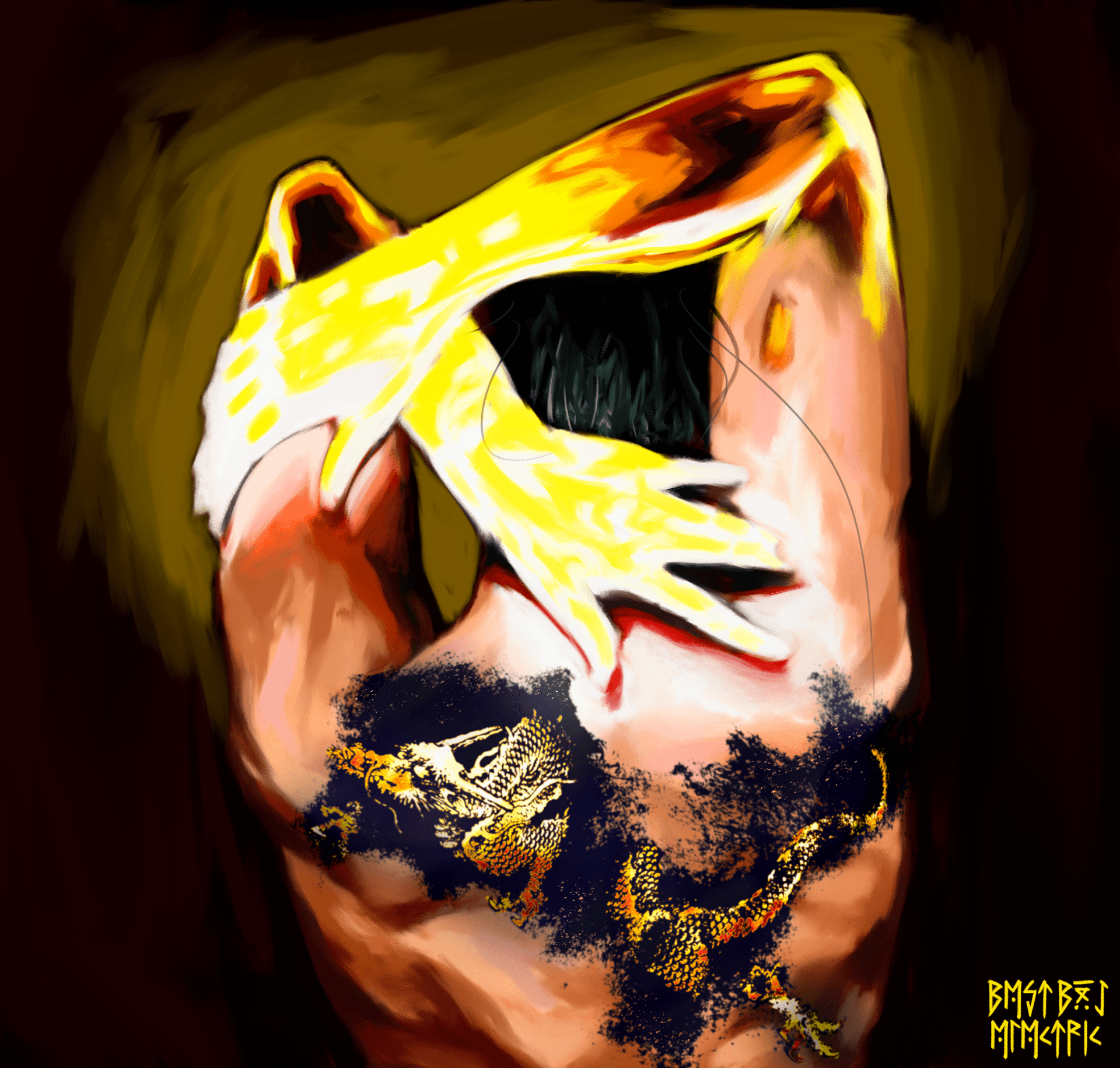 Painting of 'Iron Fist's Back', a piece of concept art painted in Adobe Photoshop to show a potential design for a reimagining of the character.