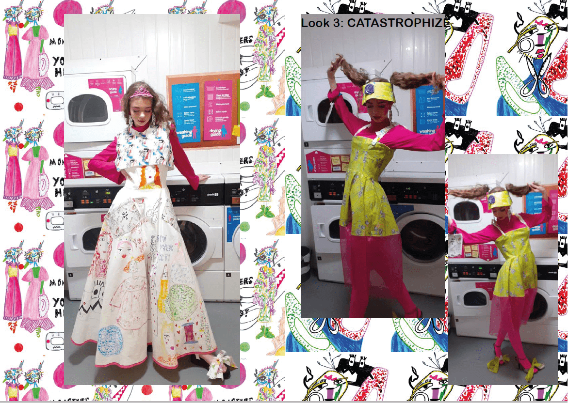 A model posing in pink and yellow garments, image surround is illustrations of the garment designs. Look 2(left) DRAMATIC of which I illustrated and painted white denim fabric to create. Look 3 (right) CATASTROPHIZE.
